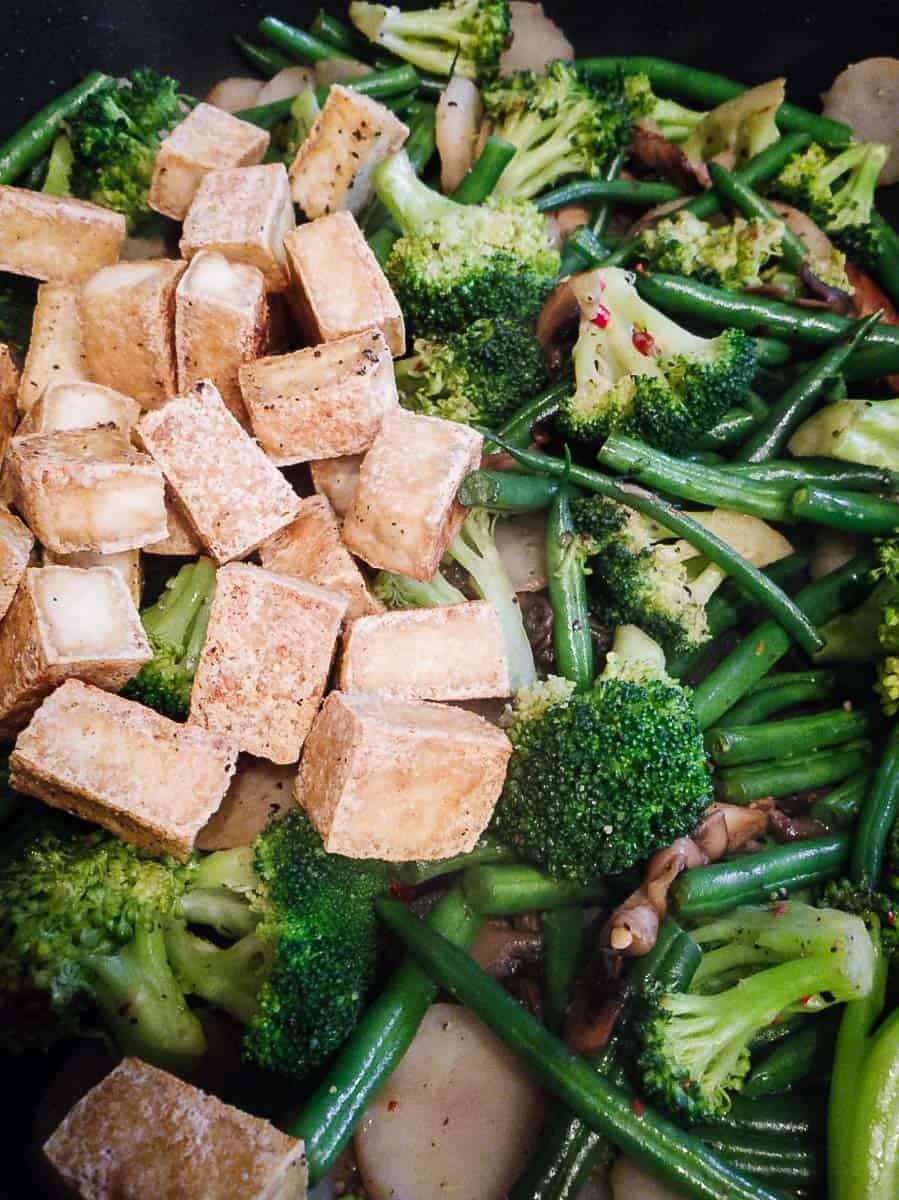 Tofu & Vegetables In A Pan