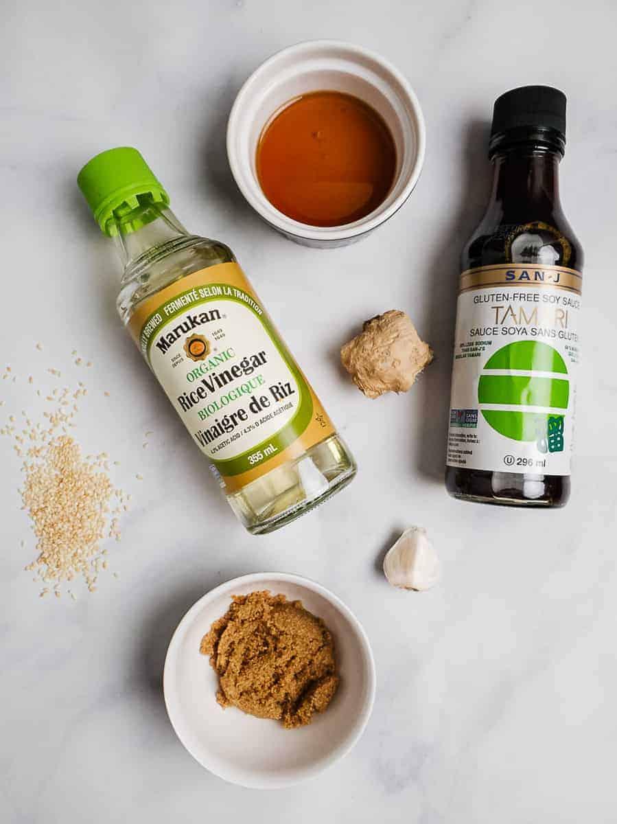 Rice Vinegar, Tamari, Ginger, Garlic, Sesame Seeds, Brown Sugar