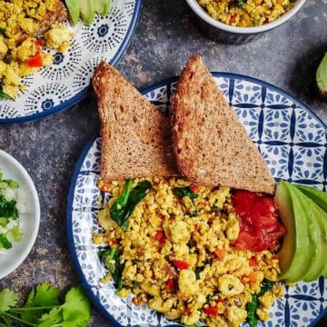 Tofu Scramble With Toast, Salsa, And Avocado