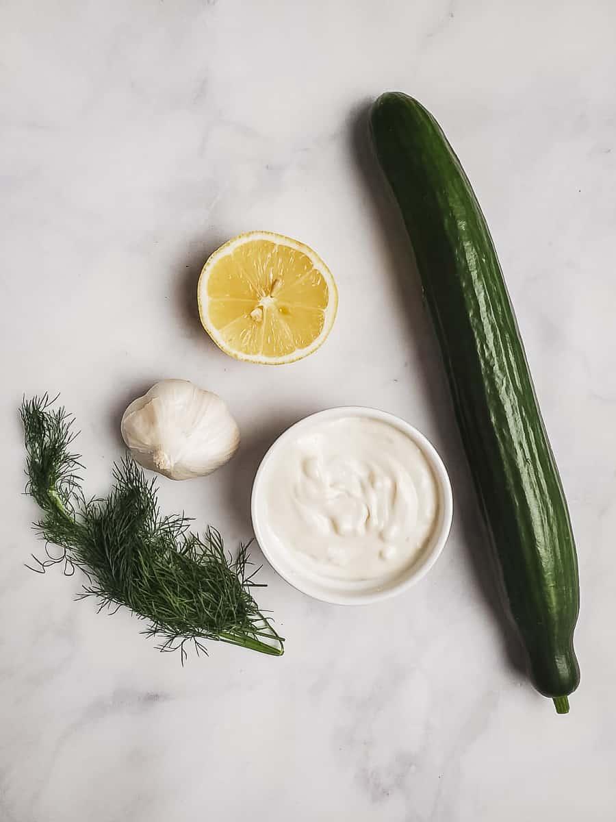 Cucumber, Lemon, Garlic, Coconut Yogurt, and Dill