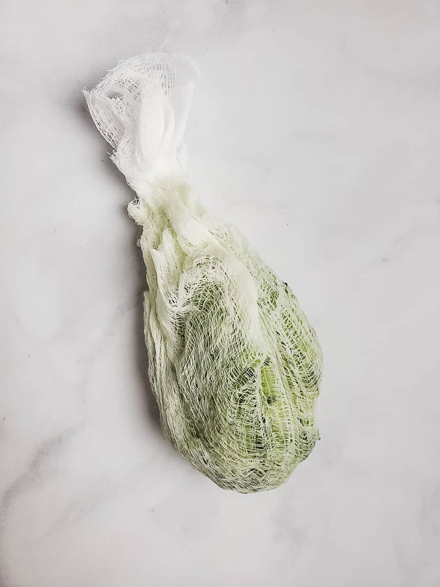 Grated Cucumber In Cheesecloth