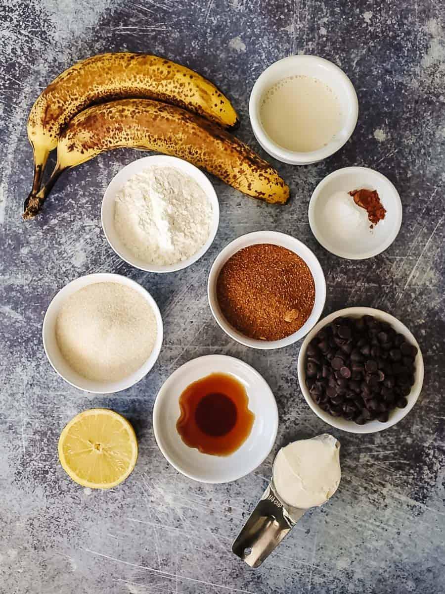 Bananas, Flour, Sugar, Oil, Baking Soda, Cinnamon, Lemon, Chocolate Chips, Vanilla, And Soy Milk