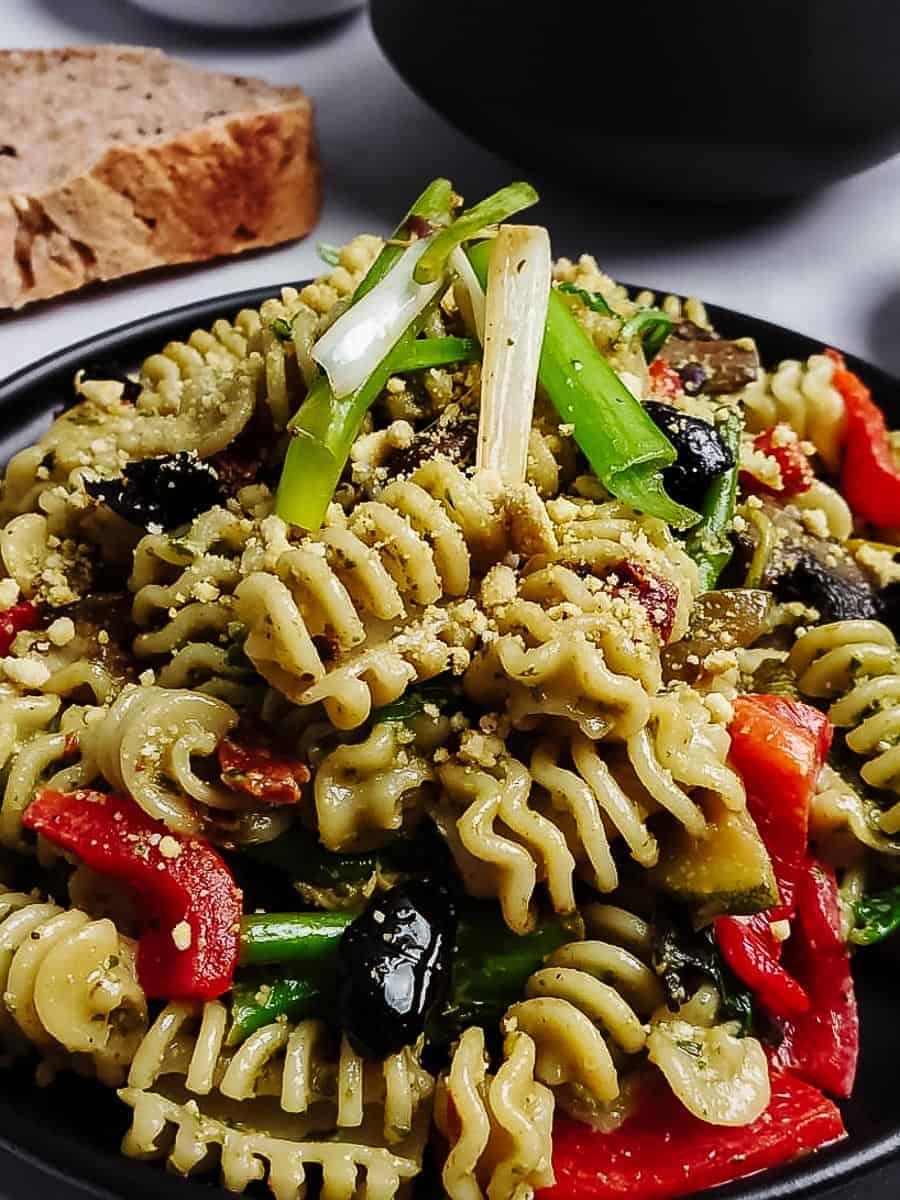 Vegan Basil Pesto Pasta With Vegetables