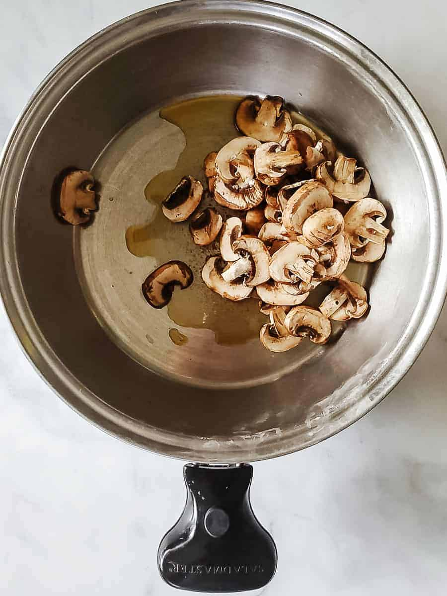 Mushrooms In A Pan With Oil