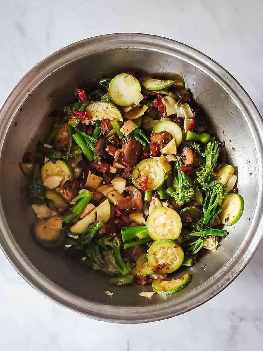 Vegetables In A Pan Sautéing