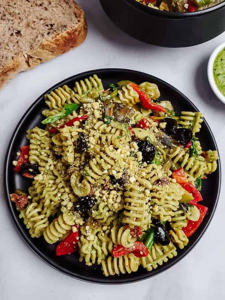 Vegan Basil Pesto Pasta With Vegetables
