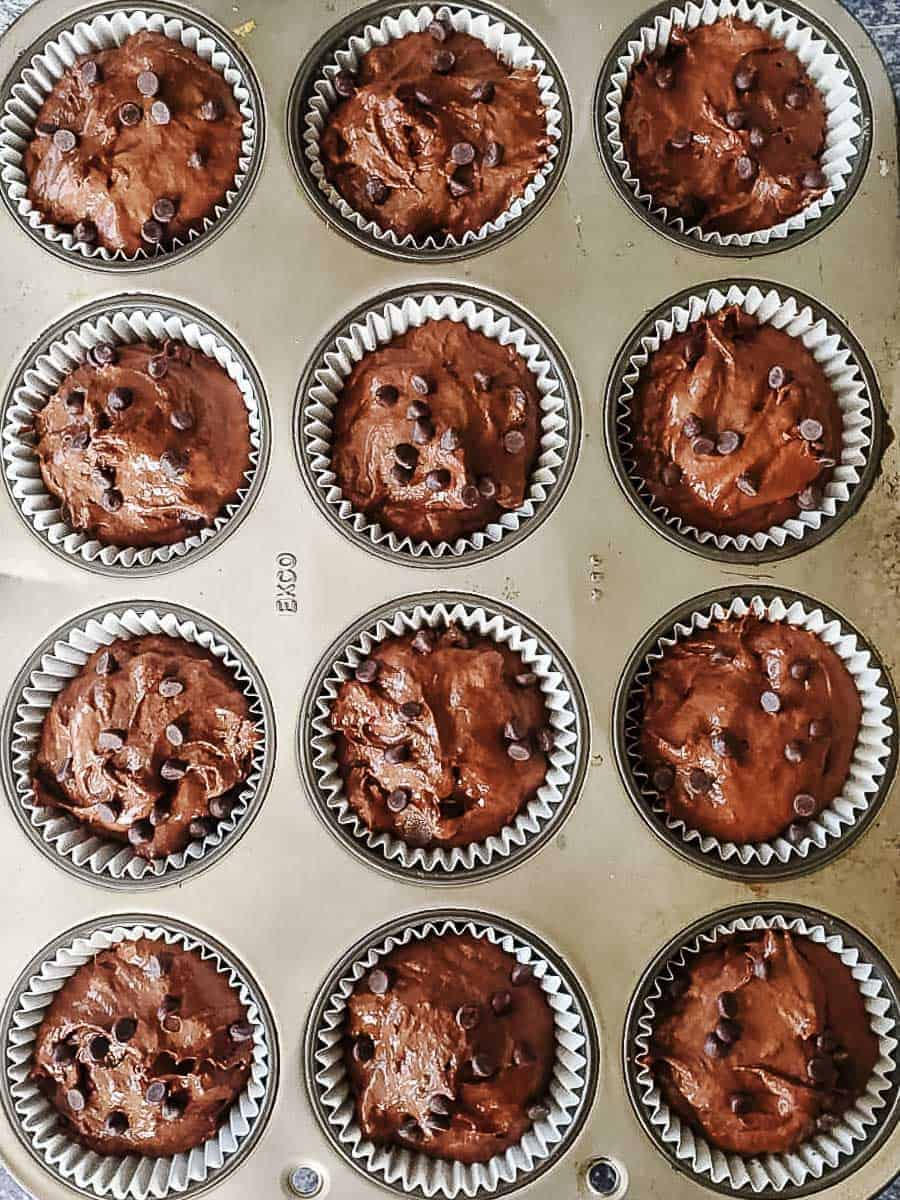 Unbaked Vegan Double Chocolate Muffins