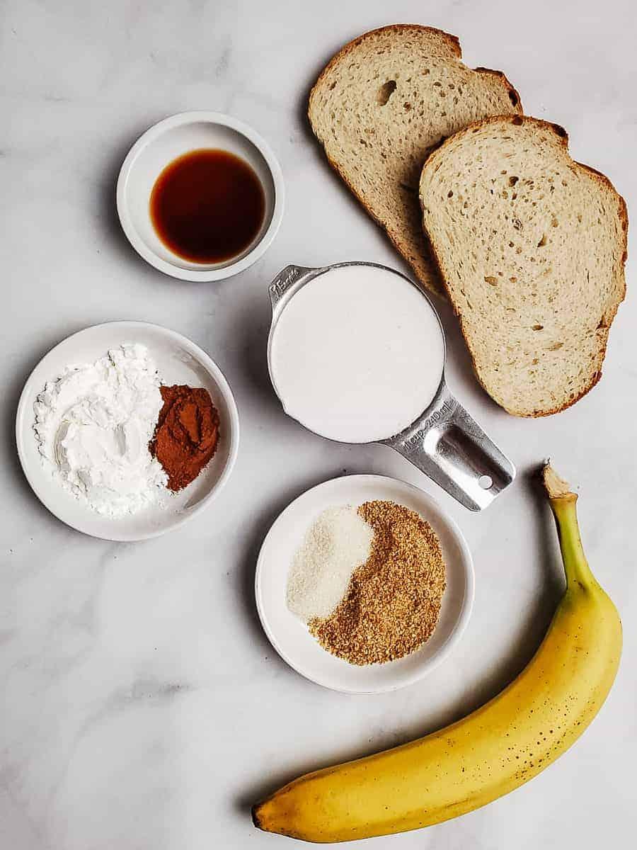 Bread, Milk, Banana, Spices, Flaxseed, And Sugar