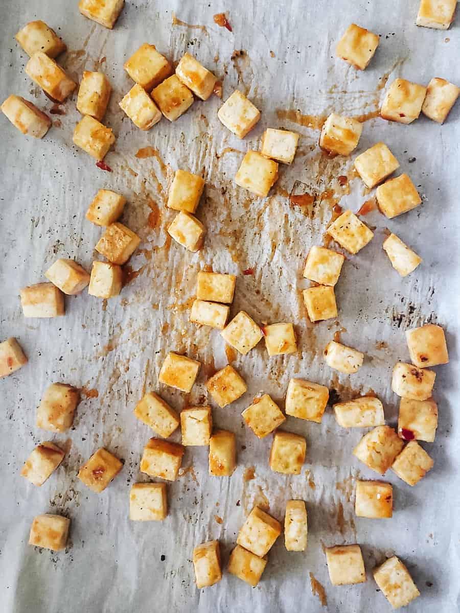 Cubed Tofu On A Baking Sheet