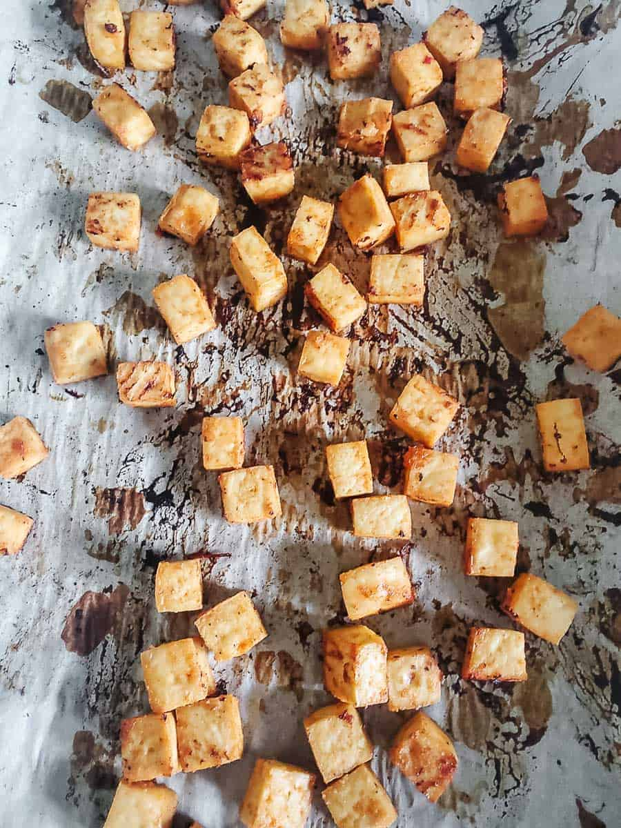 Cooked Tofu On A Baking Sheet