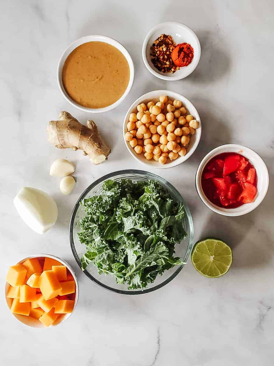 Peanut Butter, Kale, Tomatoes, Sweet Potatoes, Chickpeas, and Spices