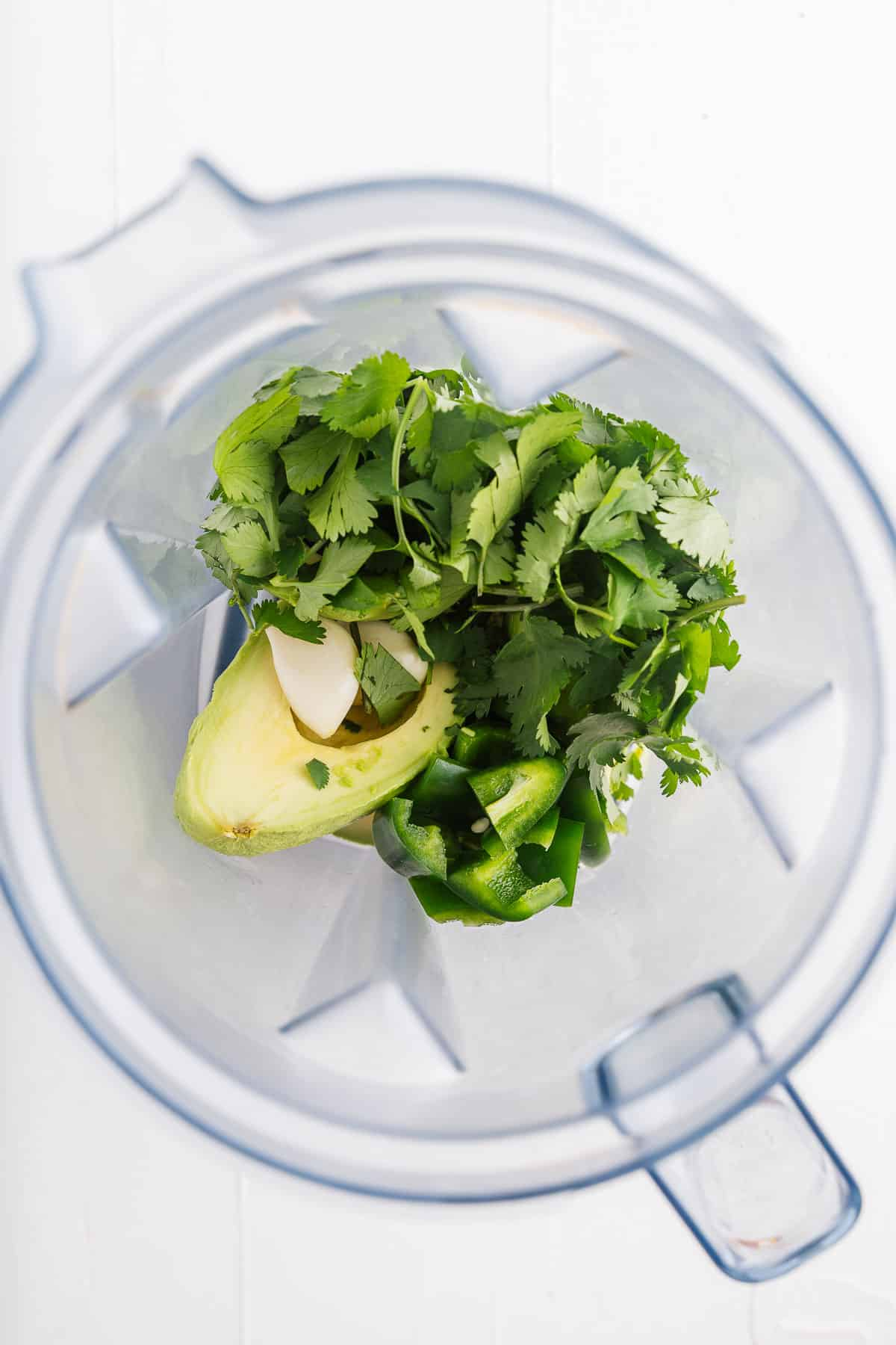 Avocado, Cilantro, Jalapeño, Lime, and Garlic in a Blender