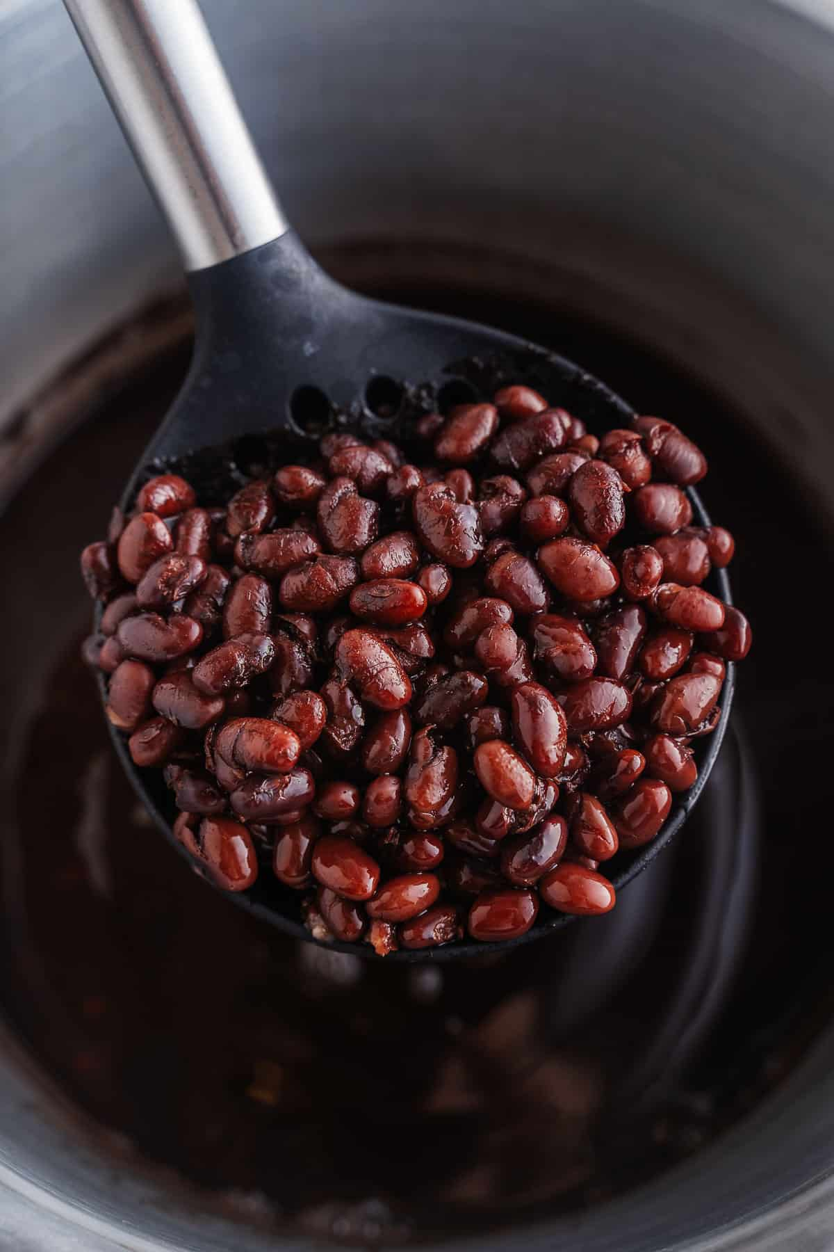 Cooked Black Beans on a Serving Spoon