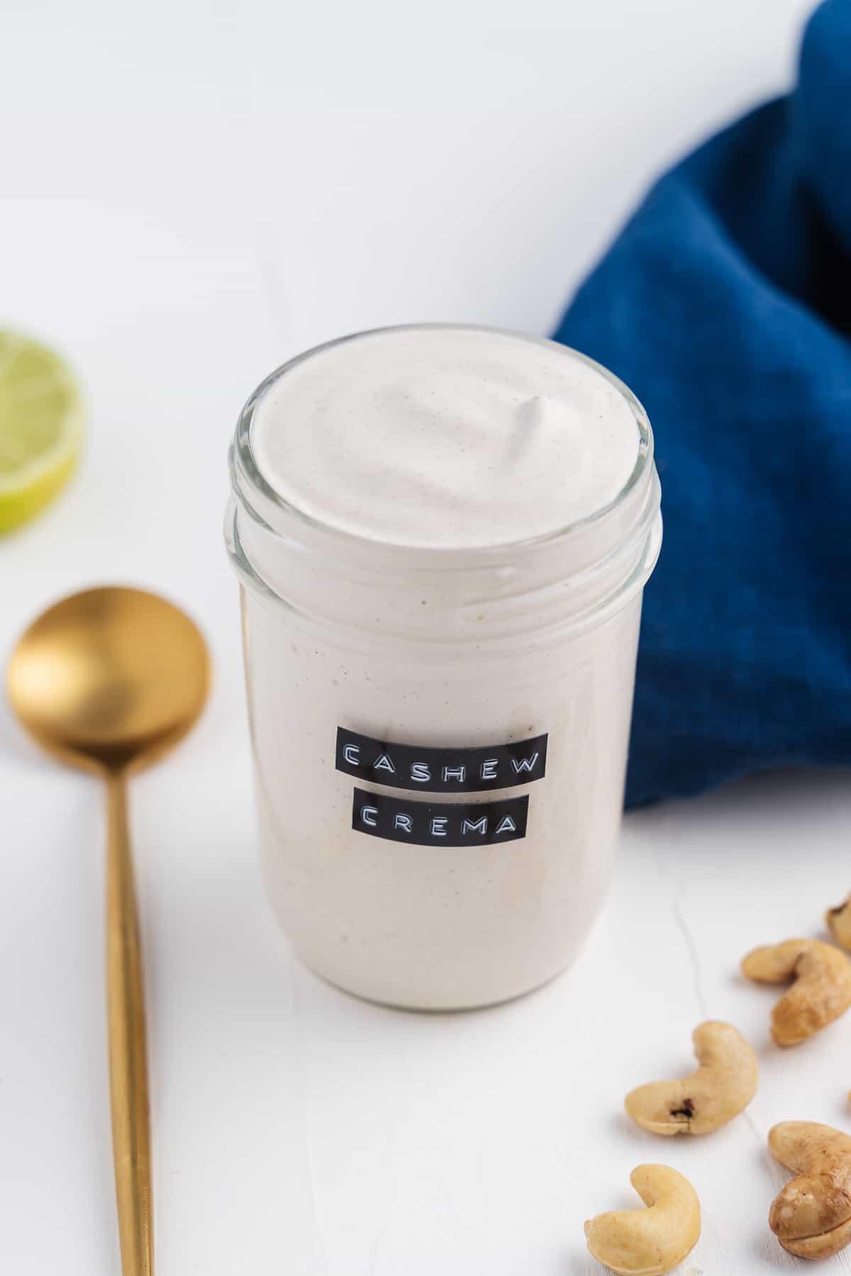 Cashew Crema in a Mason Jar