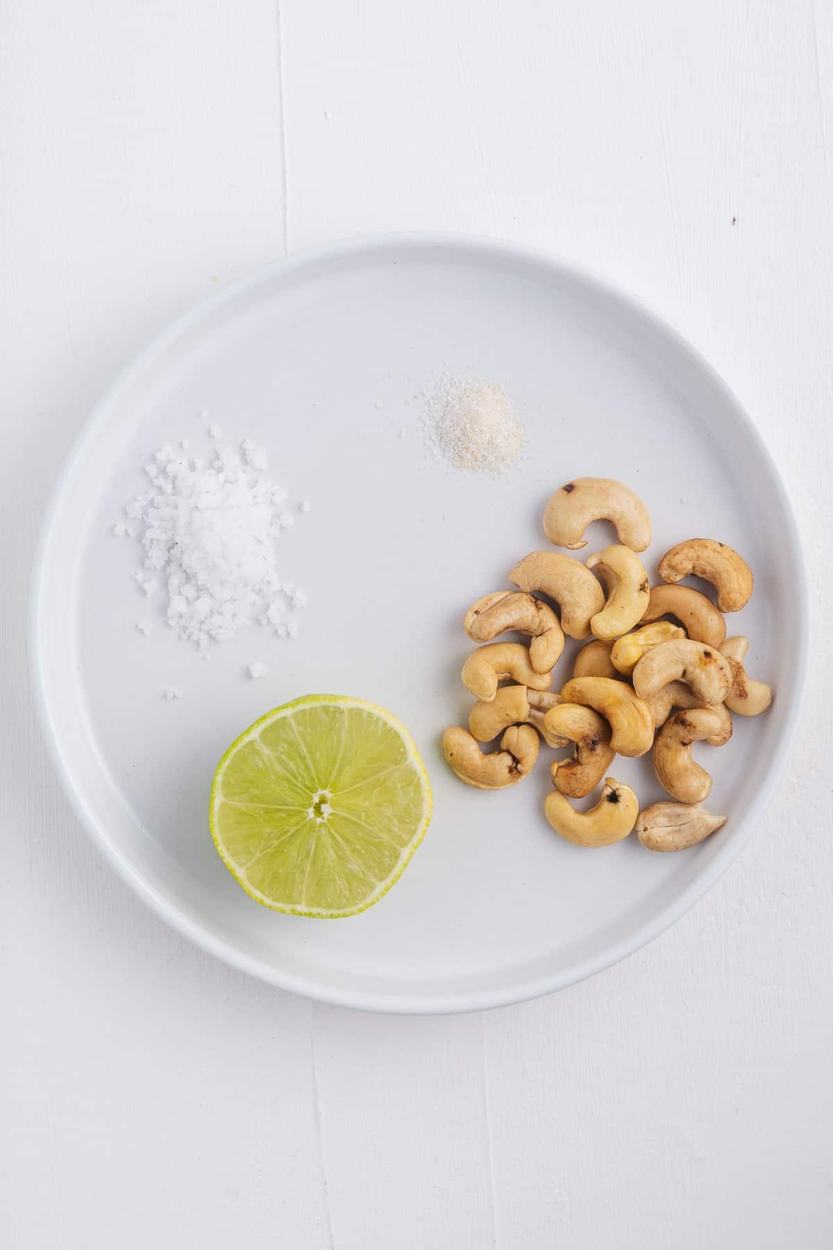 Cashews, Salt, Onion Powder, and Lime
