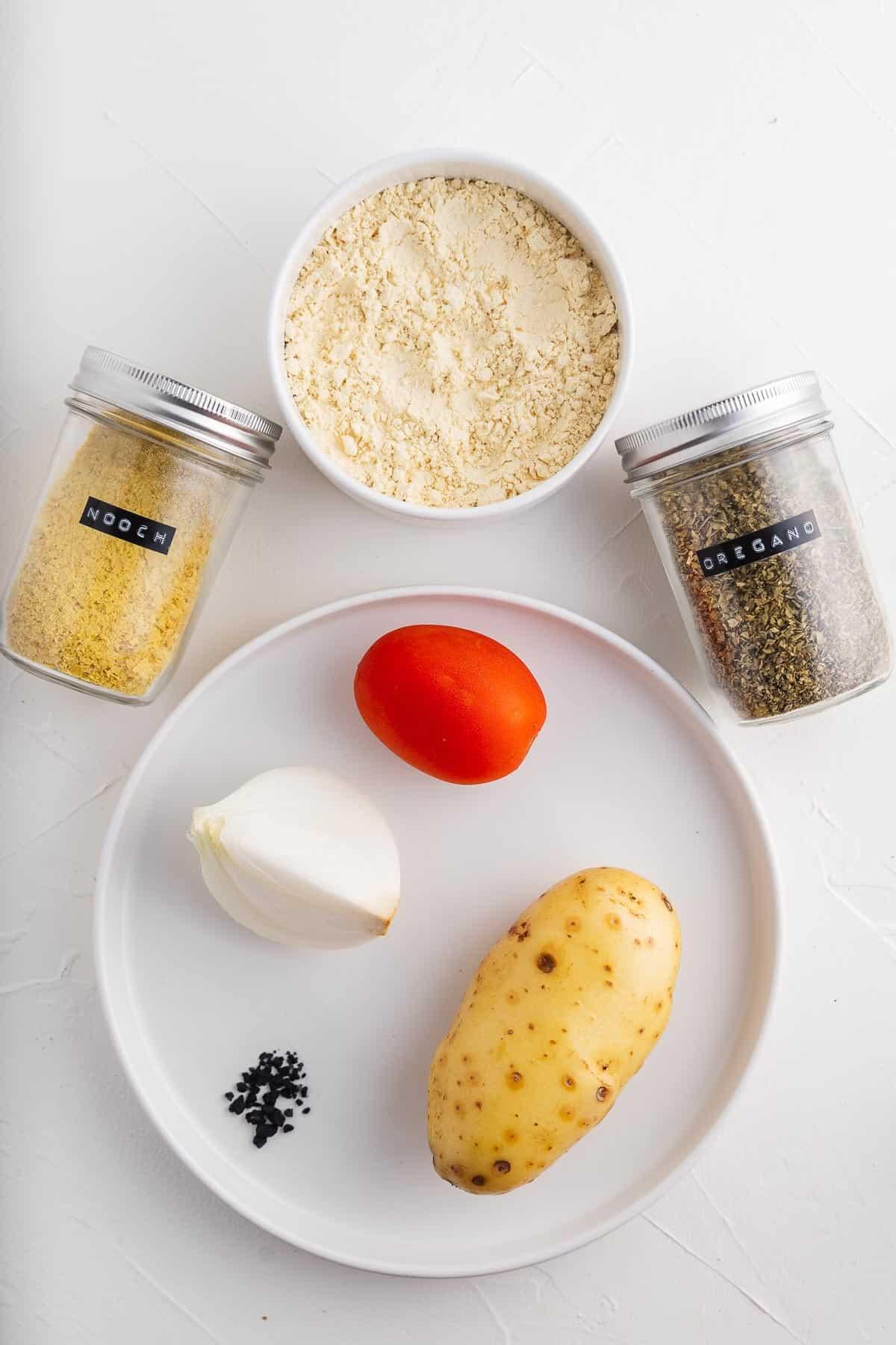 Nooch, Potato, Tomato, Black Salt, Onion, Chickpea Flour, and Oregano