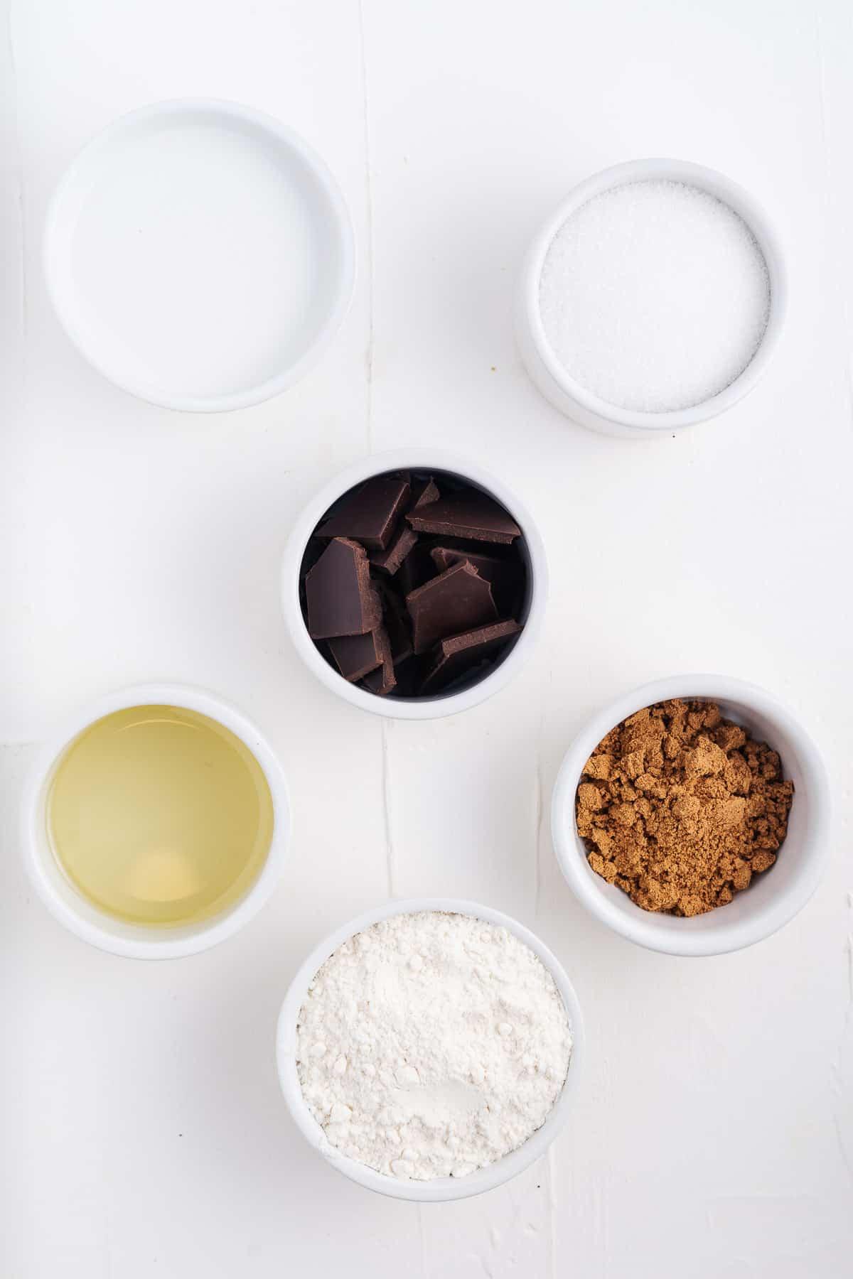 Oil, Milk, Sugar, Chocolate, Cinnamon, & Flour