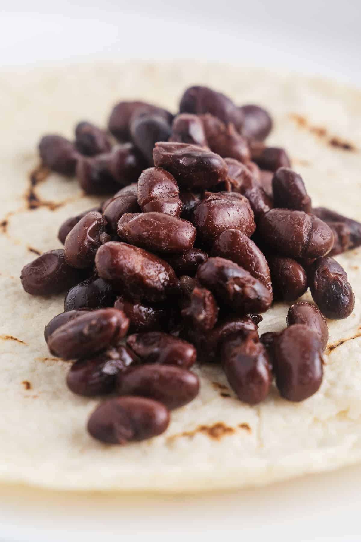 Black Beans on a Corn Tortilla