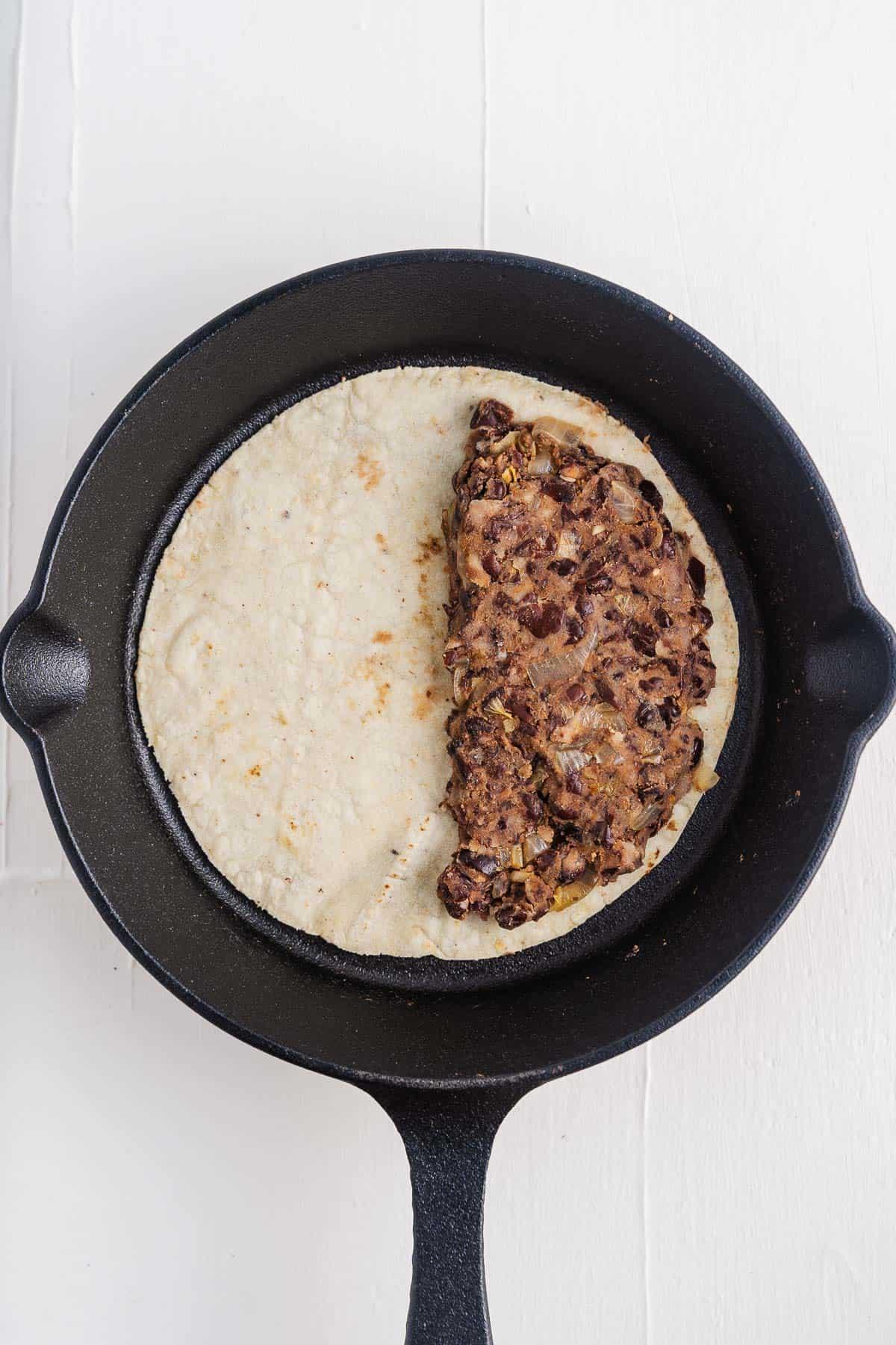 Corn Tortilla With Black Bean Filling