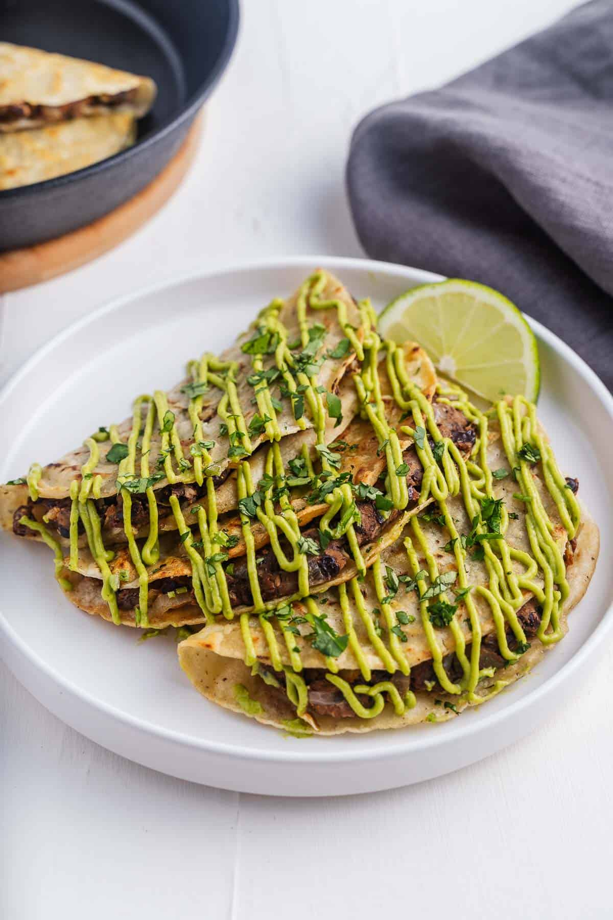 Black Bean Tacos With Avocado Sauce Drizzle