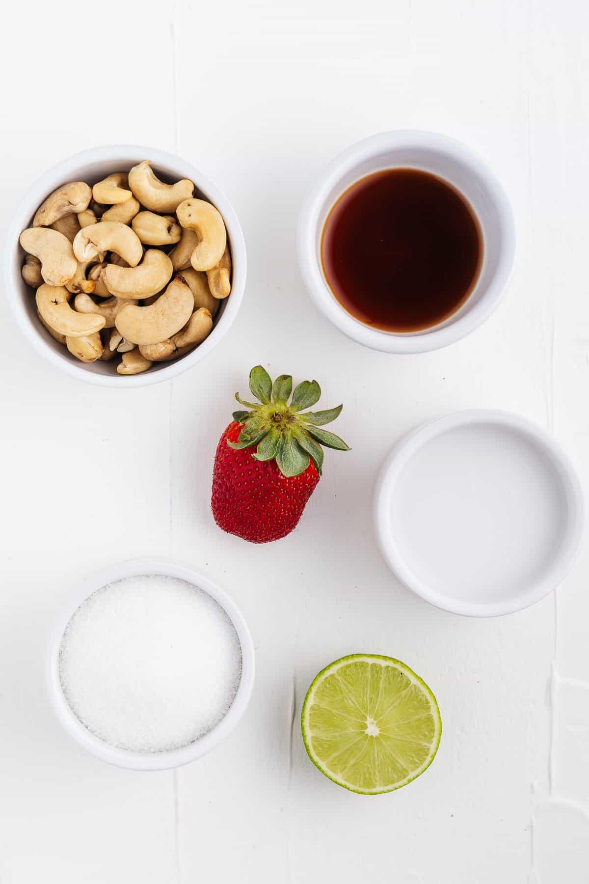 Lime, Sugar, Coconut Milk, Strawberry, Vanilla, and Cashews