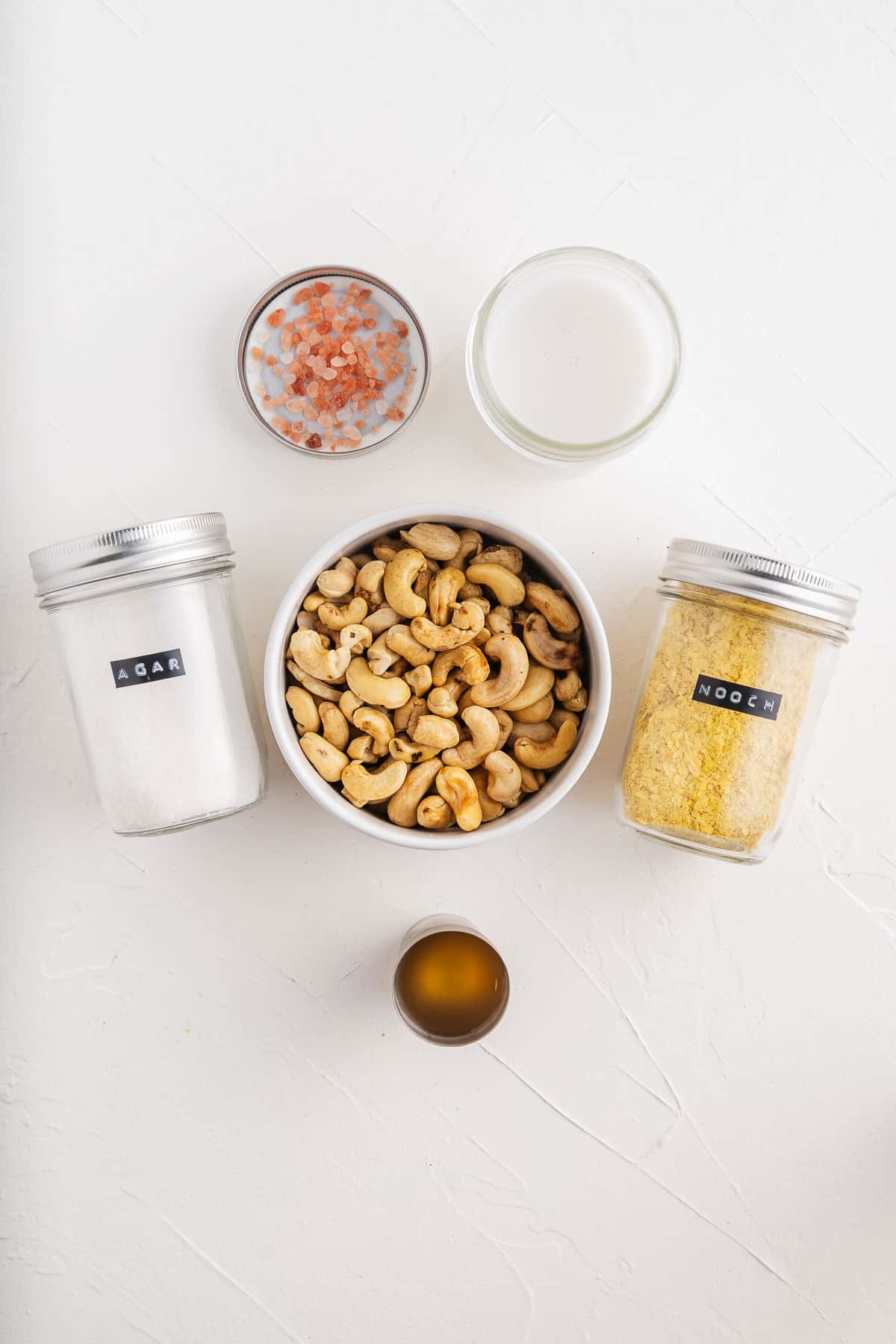 Nutritional Yeast, Salt, Cashews, Milk, Apple Cider Vinegar, and Agar