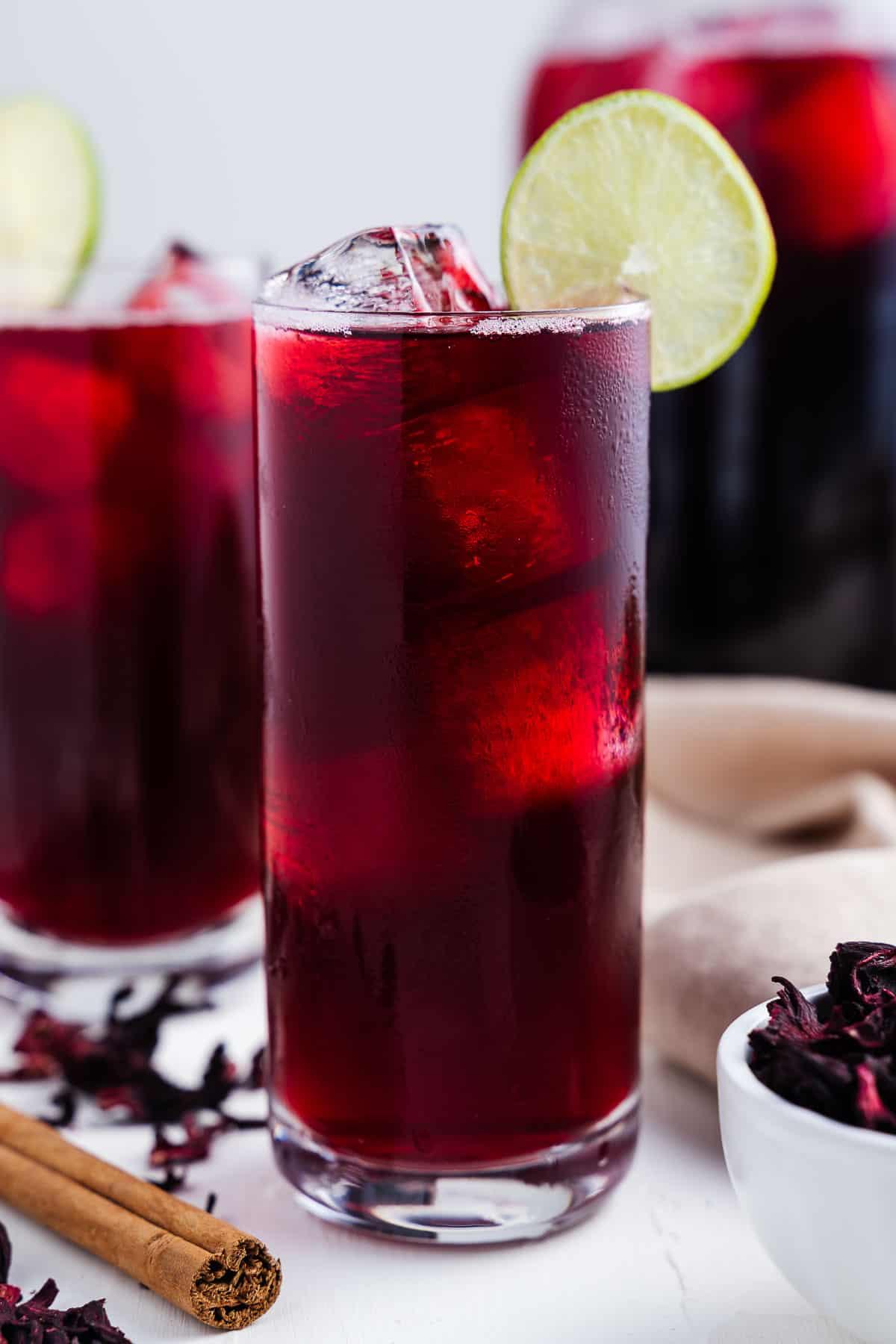 Iced Hibiscus Tea in Glasses