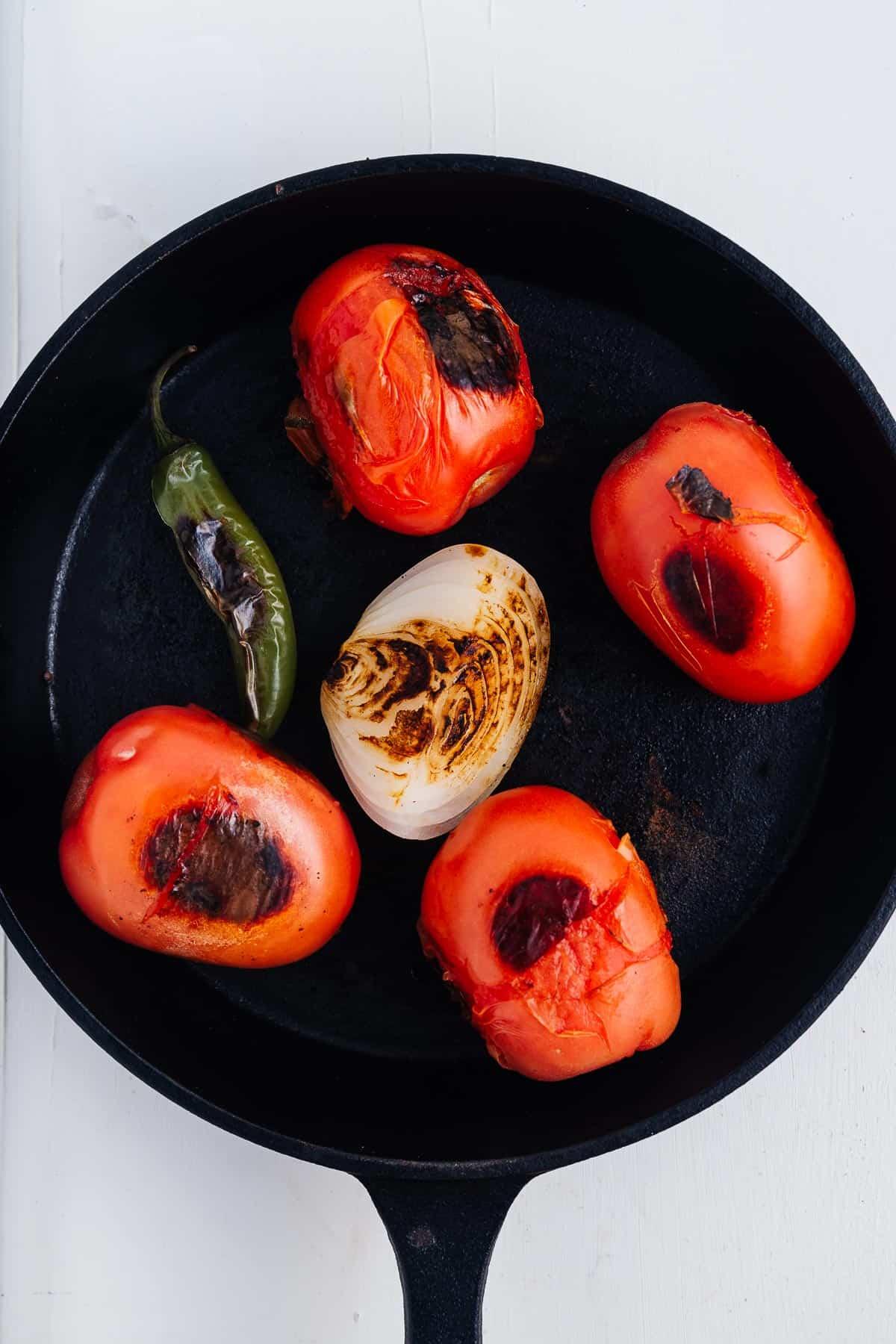 Blackened Vegetables in a Skillet
