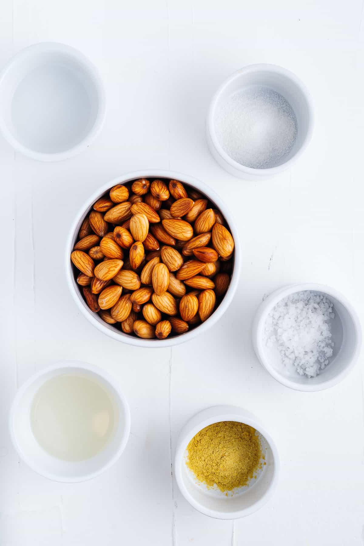 Almonds, Nutritional Yeast, Salt, Vinegar, Coconut Oil, and Agar