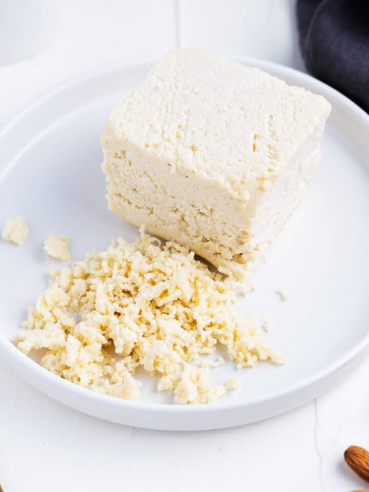 Vegan Cotija Cheese on a Plate
