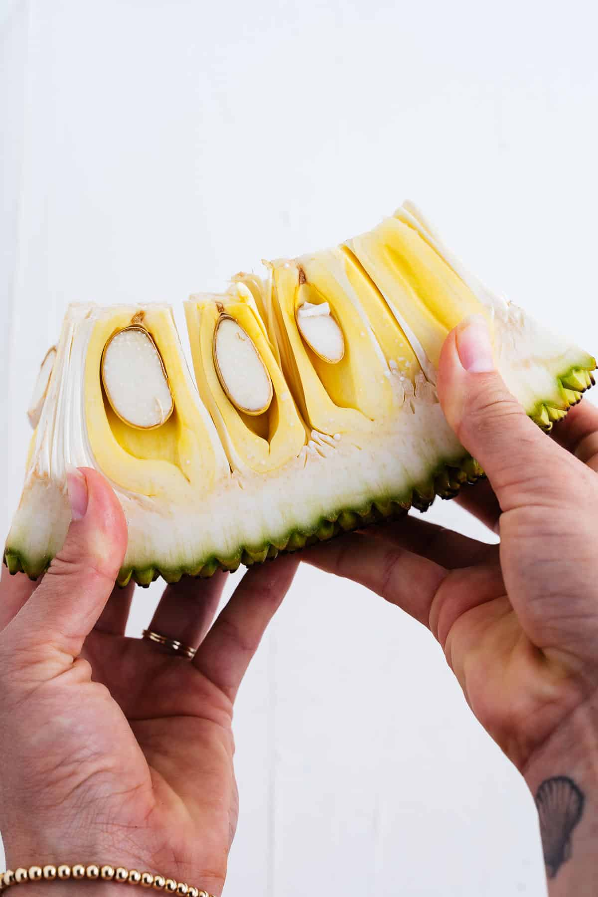 Slice of Jackfruit in Hands