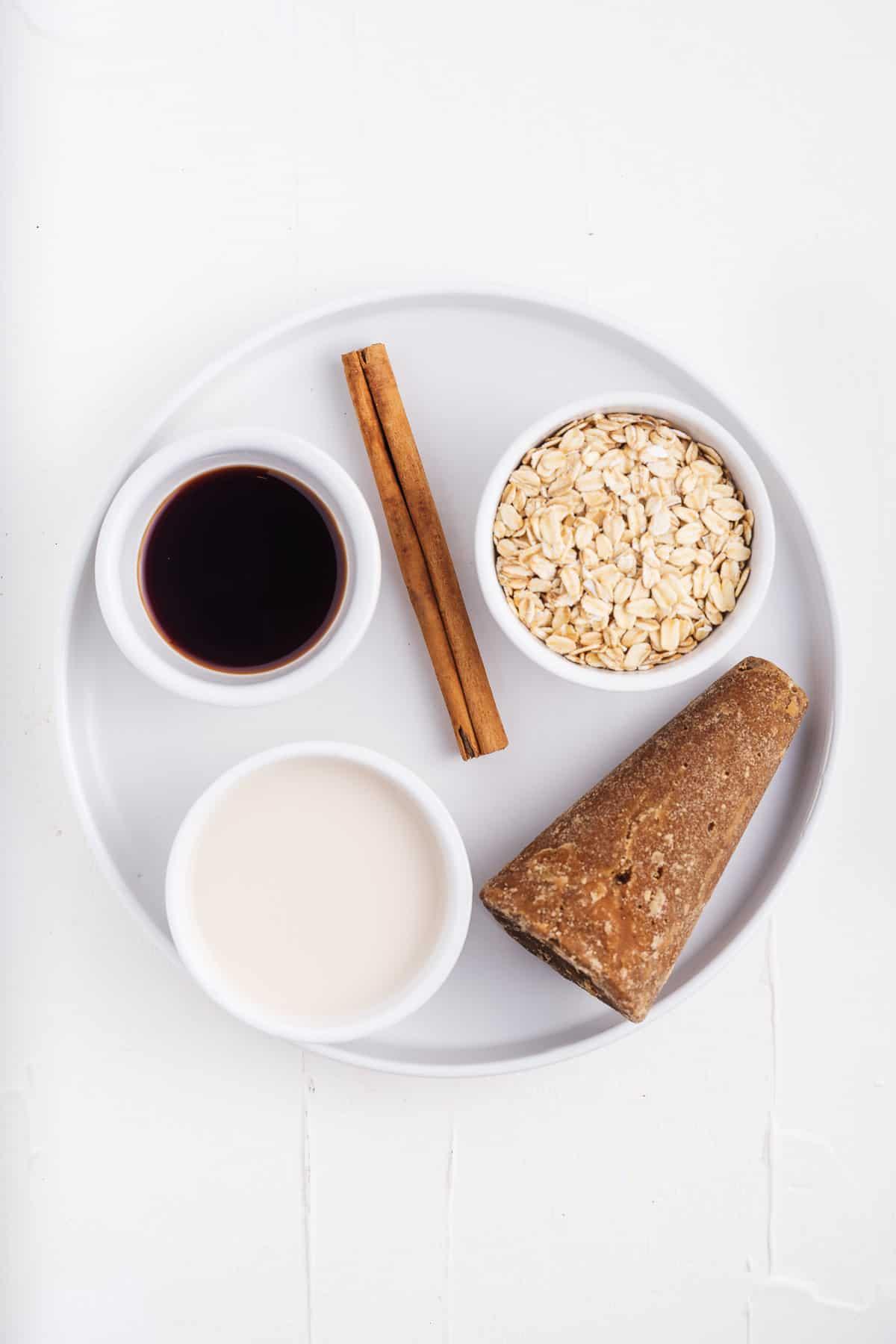 Piloncillo, Cinnamon Stick, Vanilla, Almond Milk, and Rolled Oats