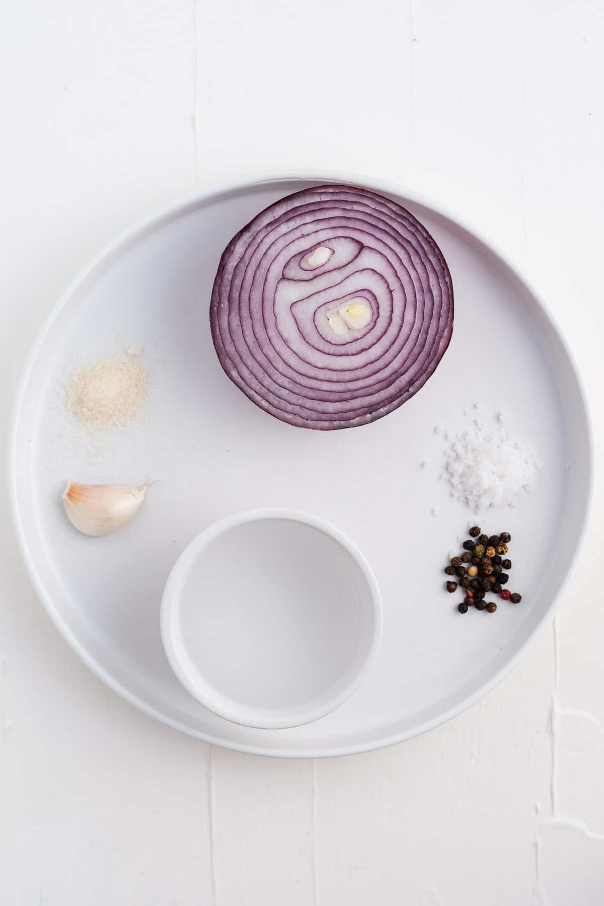 Red Onion, Garlic, Cane Sugar, Peppercorns, Salt, and Vinegar