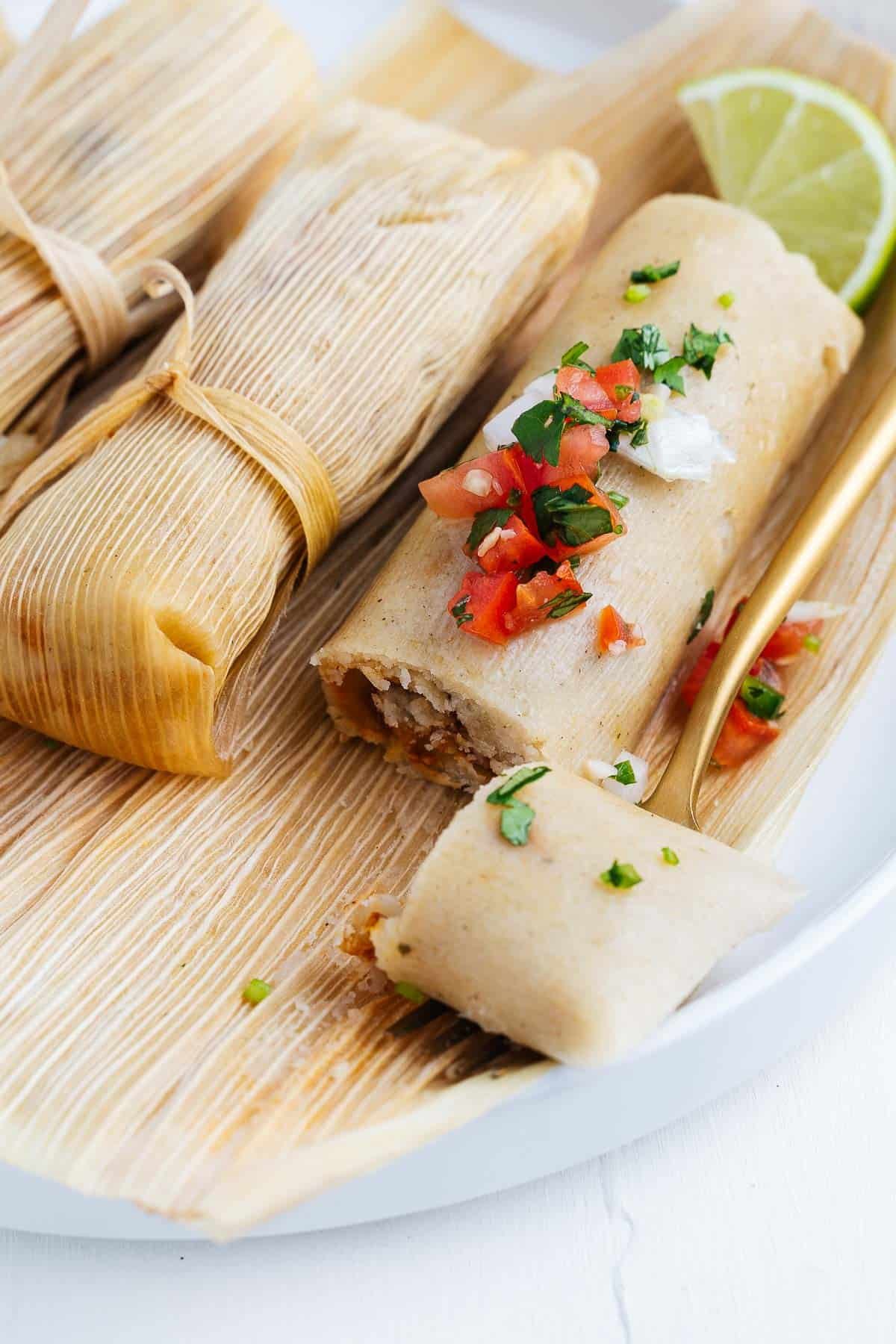 Vegan Tamales With Salsa Fresca on Top