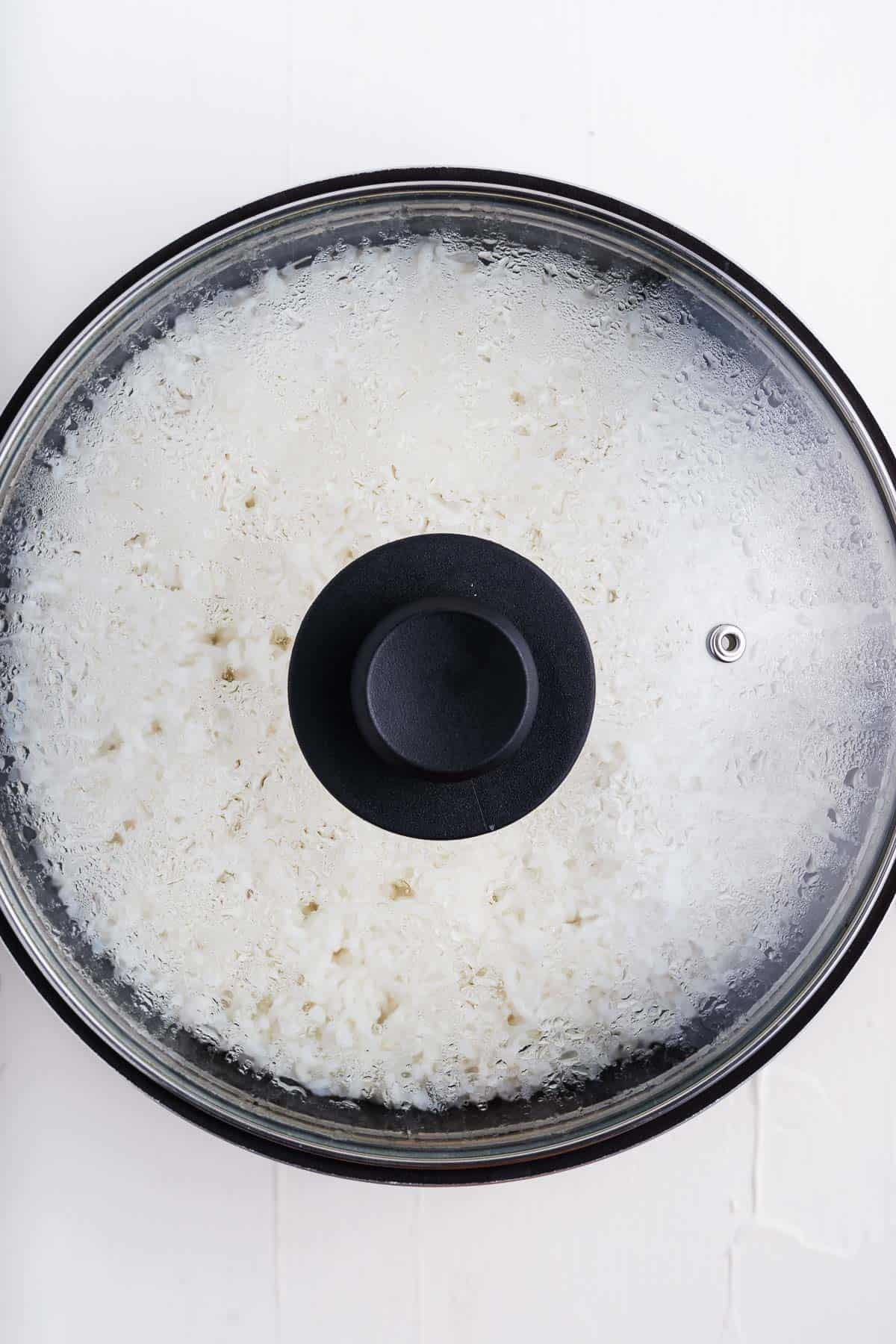 Cooked Rice in a Pot With a Lid on