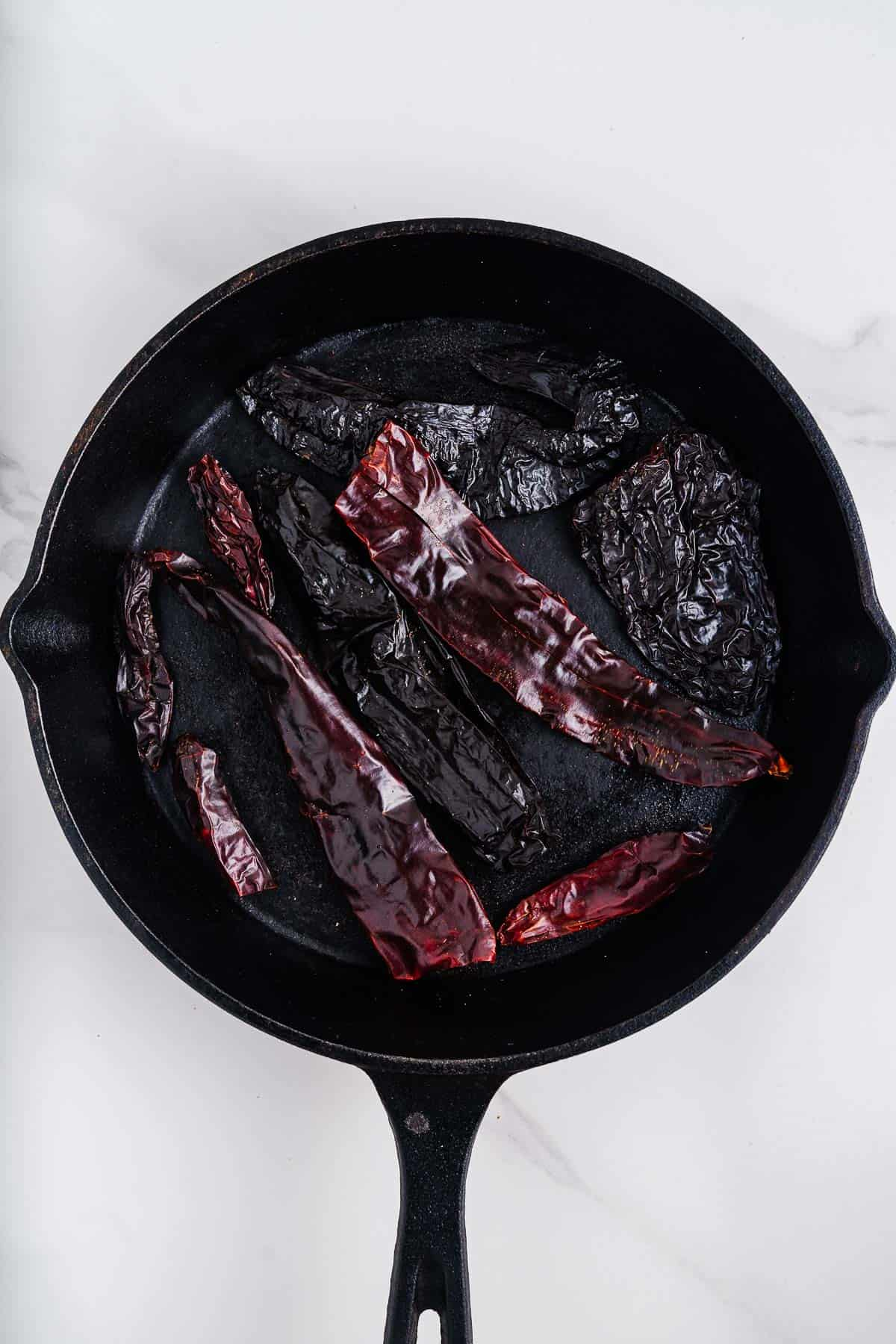 Dried Chiles in a Cast-Iron Skillet