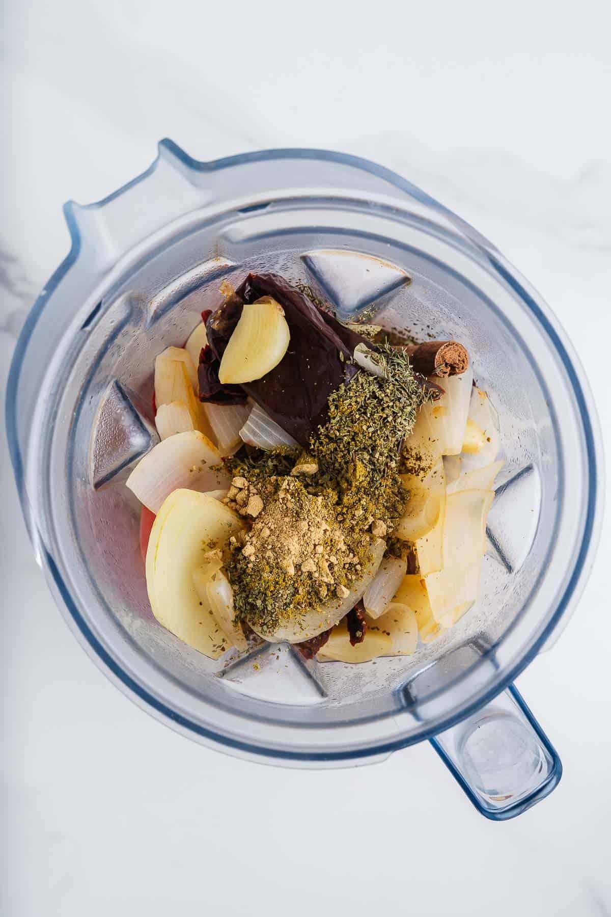 Vegetables, Chiles, and Seasonings in a Blender
