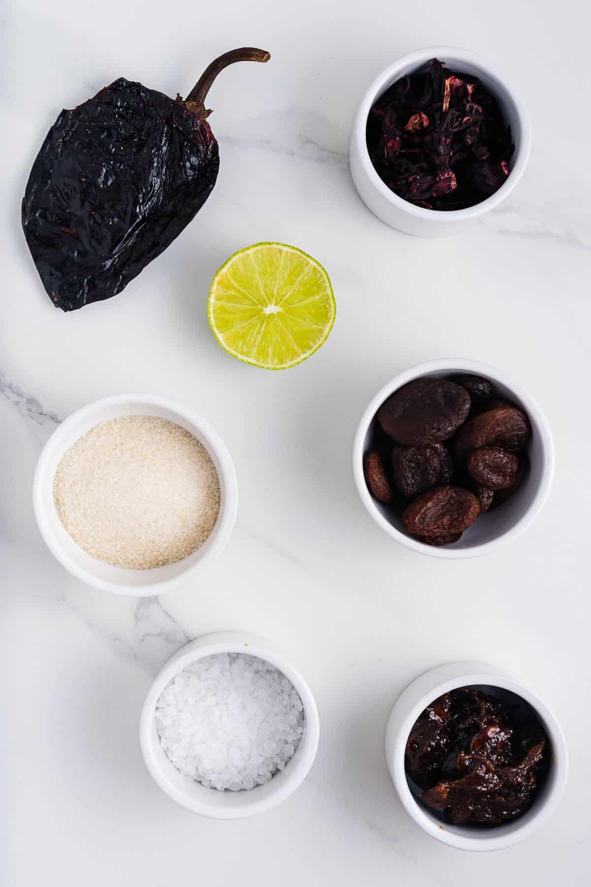 Ancho Chile, Lime, Sugar, Flor de Jamaica, Salt, Apricots, Prunes ,and Tamarind Paste