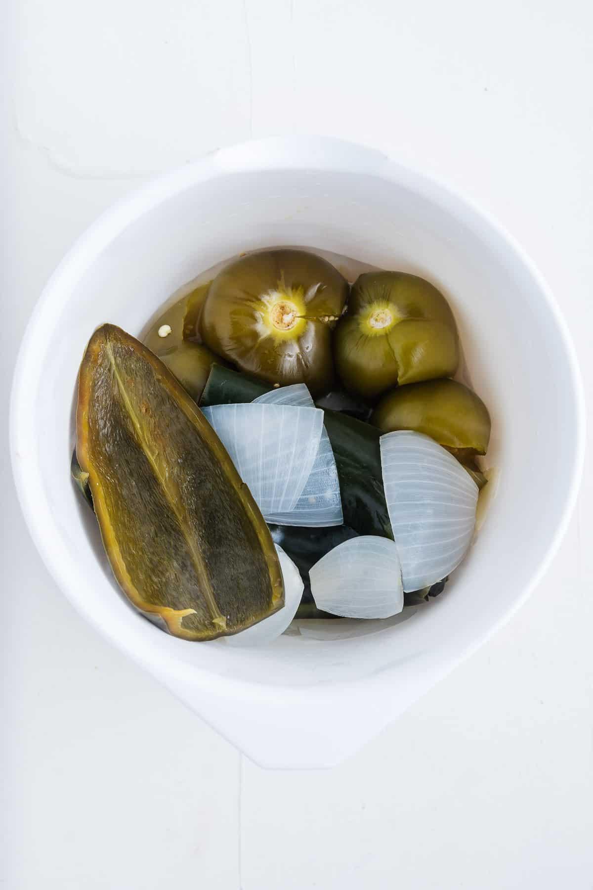 Boiled Green Chiles, Onion, Tomatillos, and Garlic