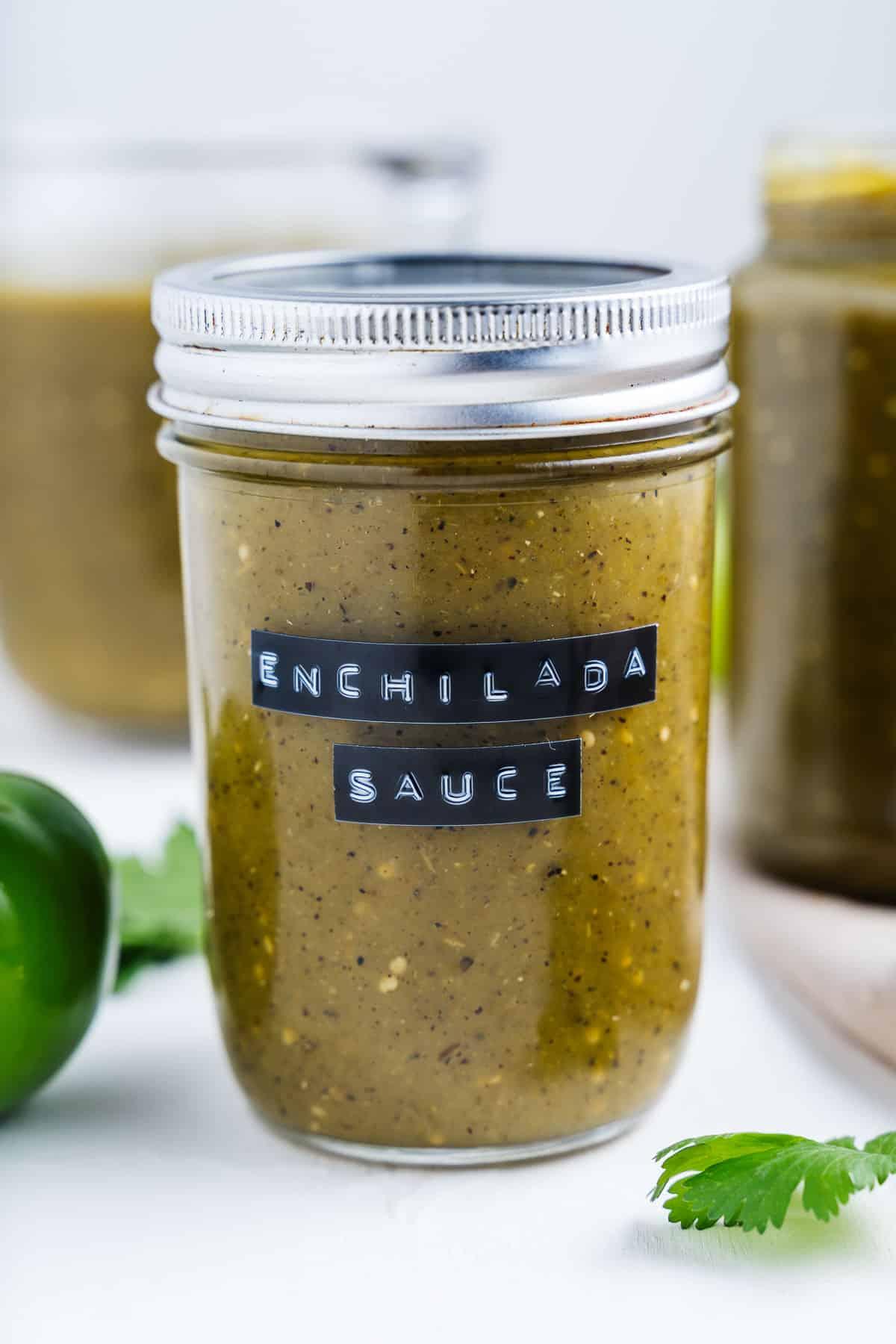 Green Enchilada Sauce in a Mason Jar