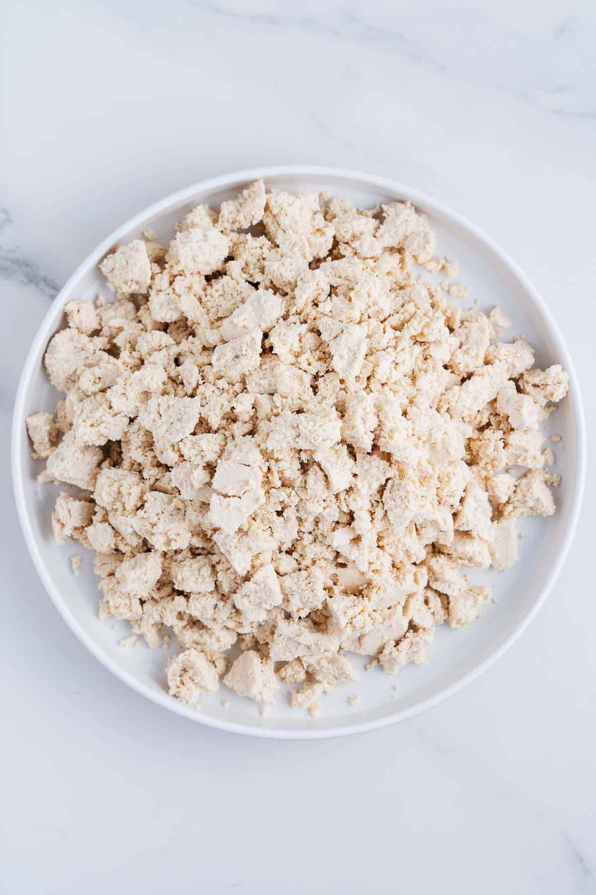 Crumbled Firm Tofu on a Plate