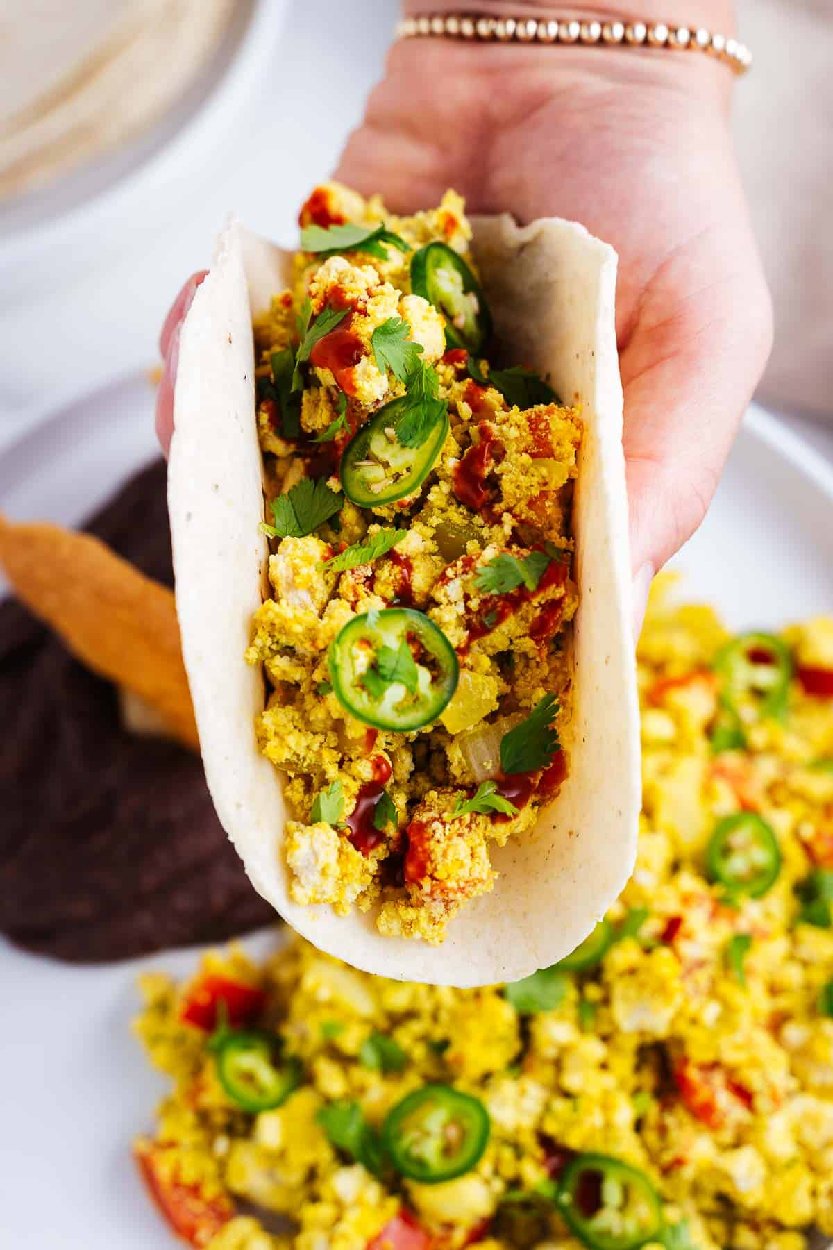 Vegan Huevos a la Mexicana Inside Corn Tortillas