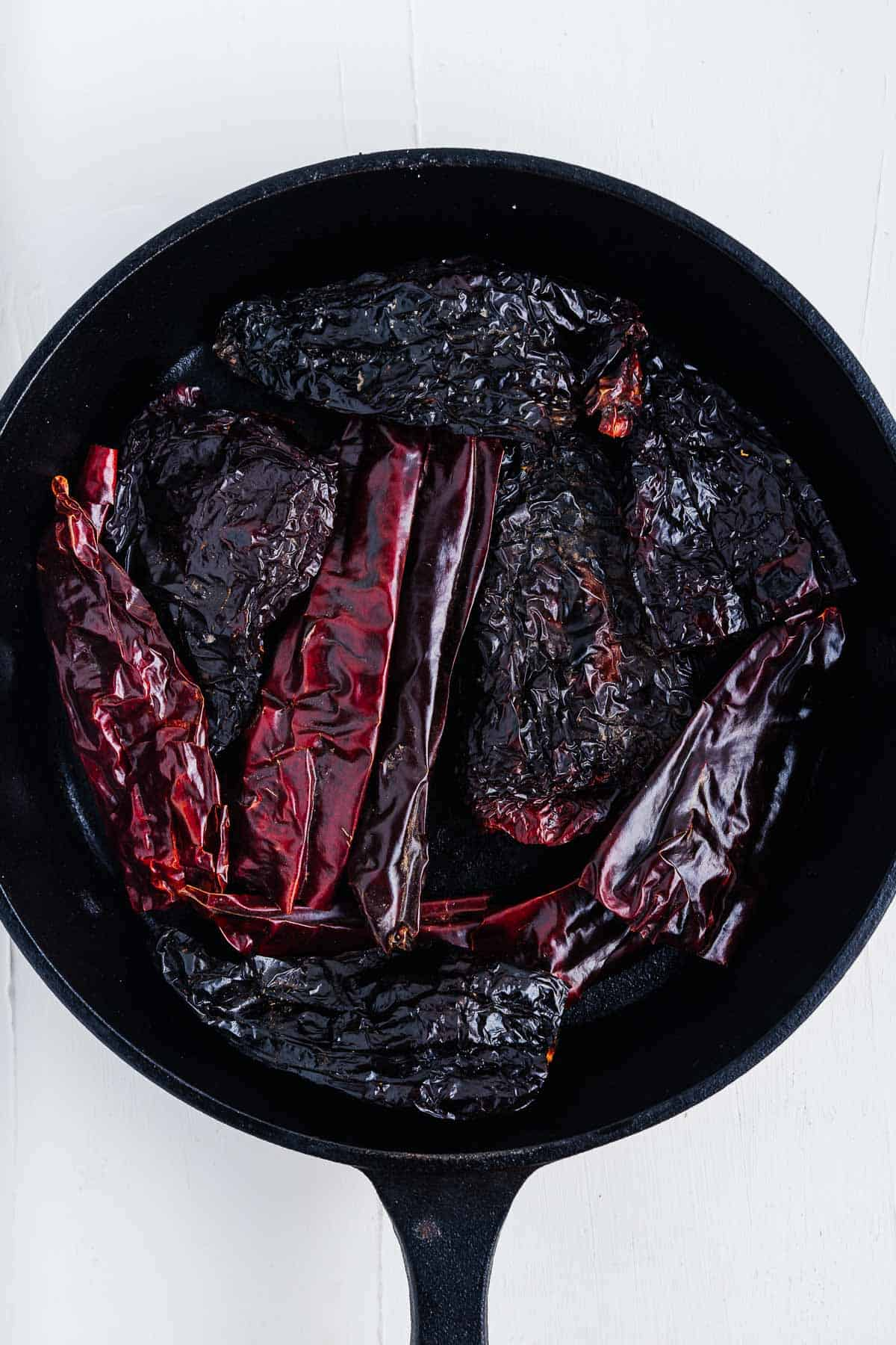 Chiles in a Cast Iron Skillet