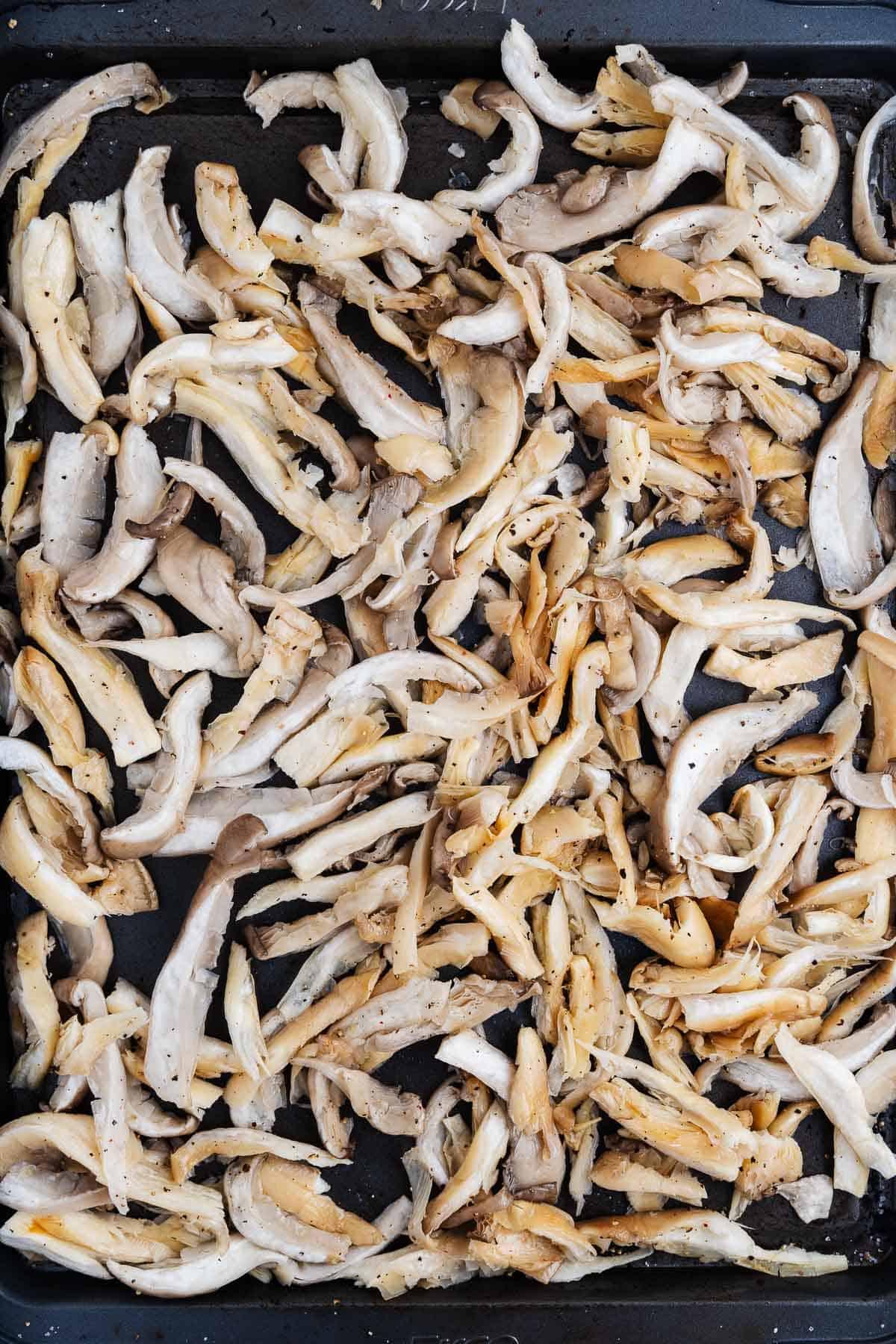 Shredded Oyster Mushrooms on a Pan