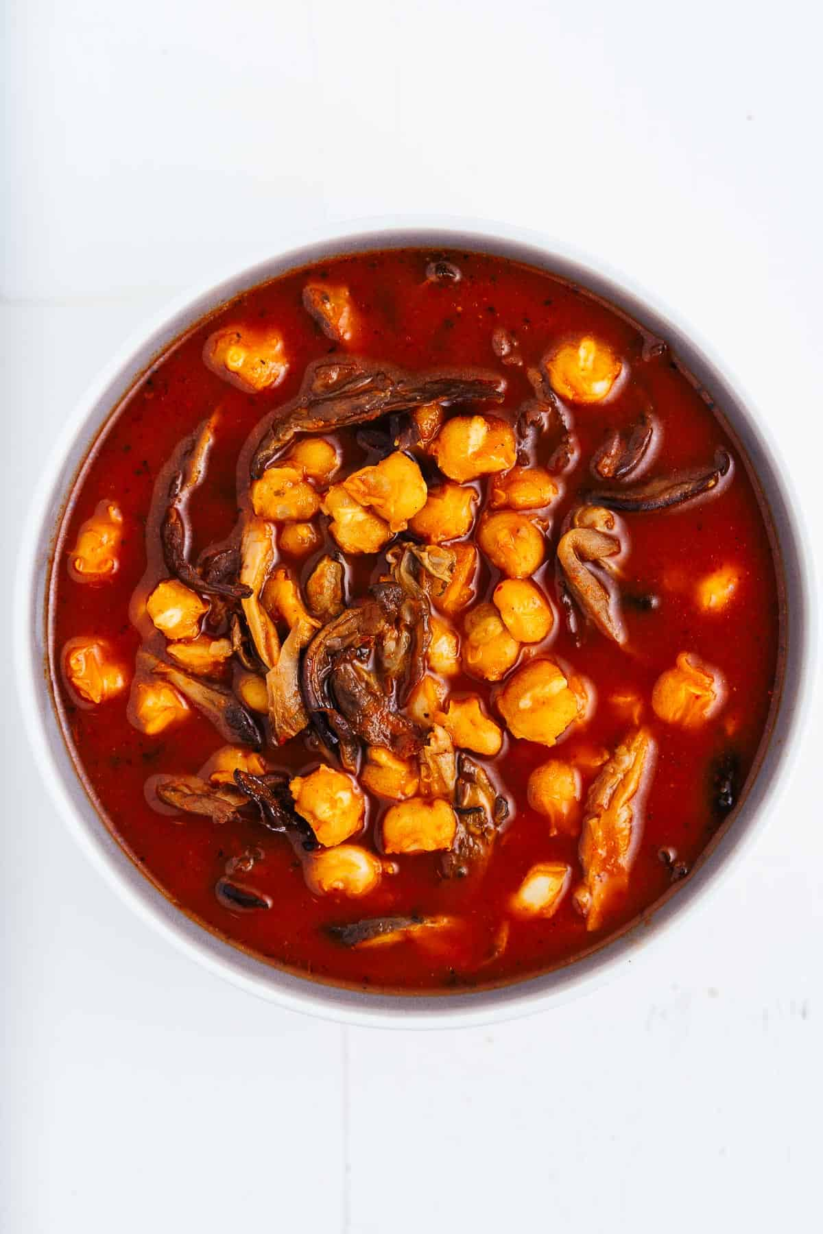 Vegan Pozole Rojo in a Bowl