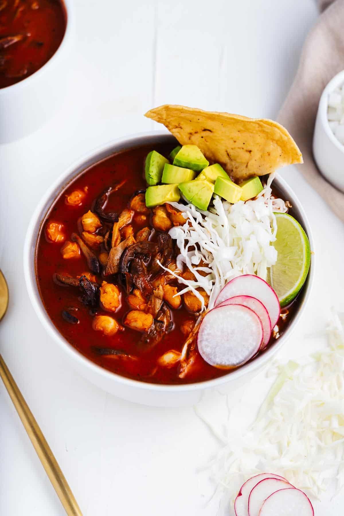 Vegan Pozole Rojo Recipe With Garnishes
