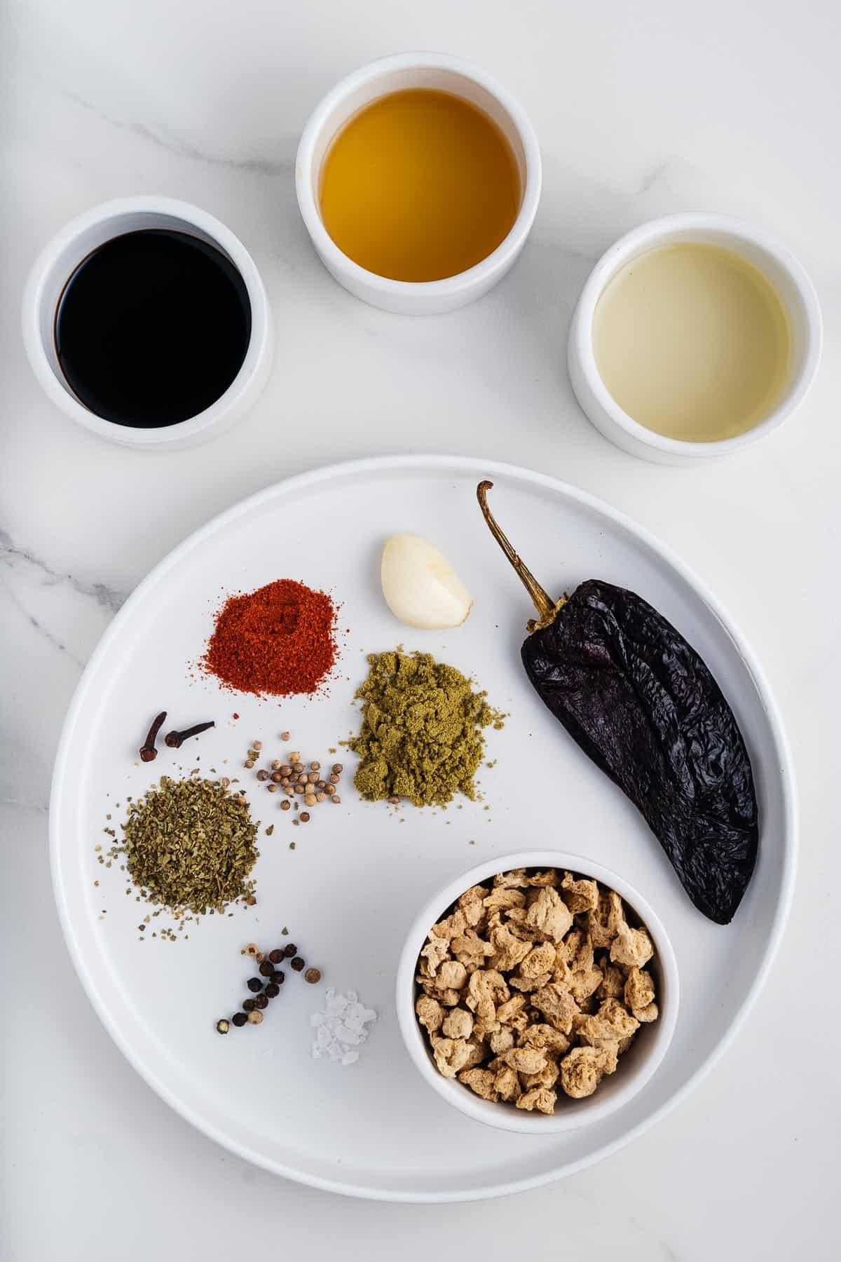 TVP, Spices, Ancho Chile, Garlic, Tamari, Apple Cider Vinegar, and Coconut Oil