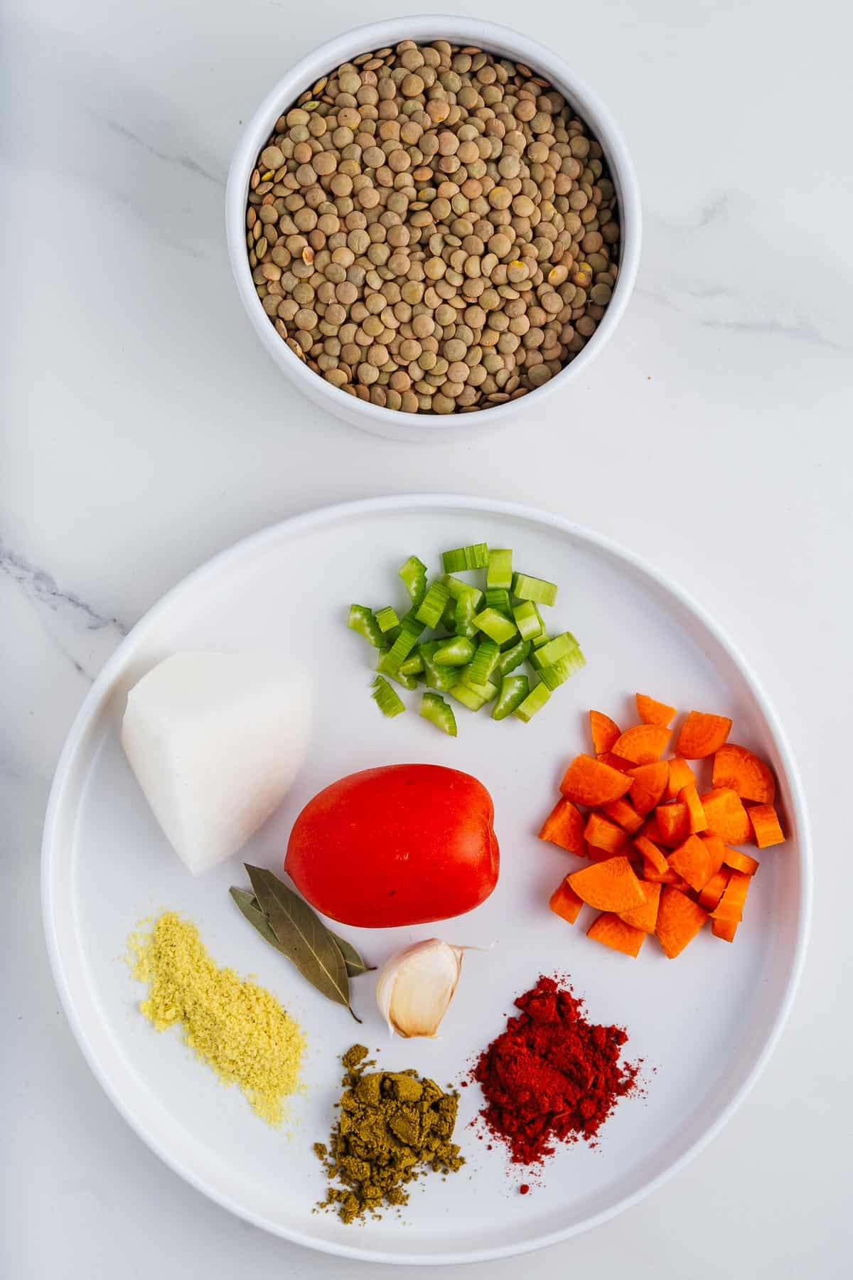 Tomatoes, Garlic, Onions, Spices, Lentils, Celery, and Carrots
