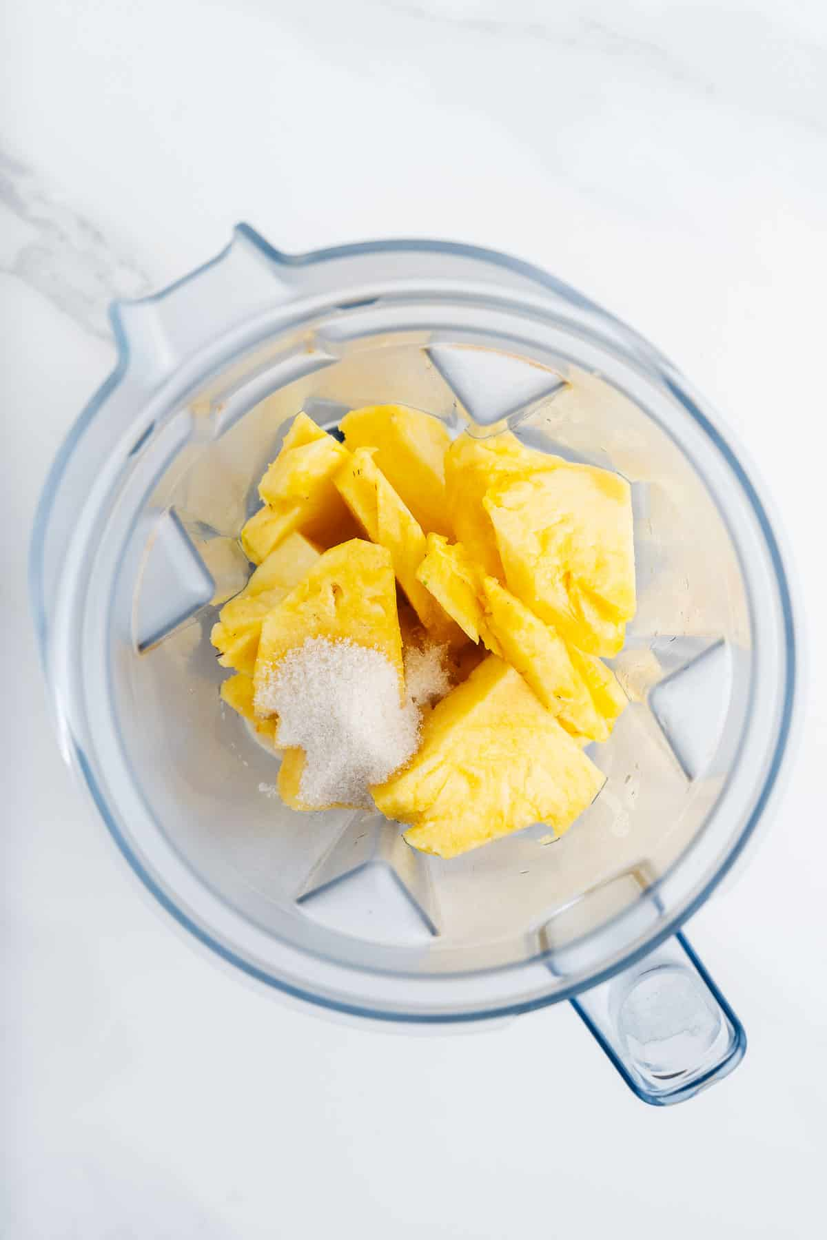 Pineapple, Cane Sugar, and Water in a Blender