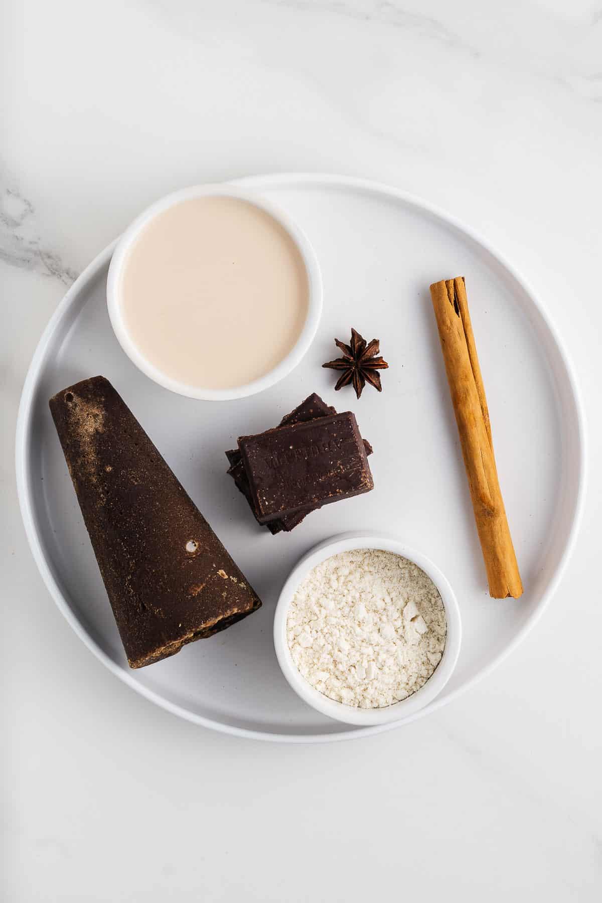Piloncillo, Masa Harina, Cinnamon, Star Anise, Soy Milk, and Mexican Chocolate